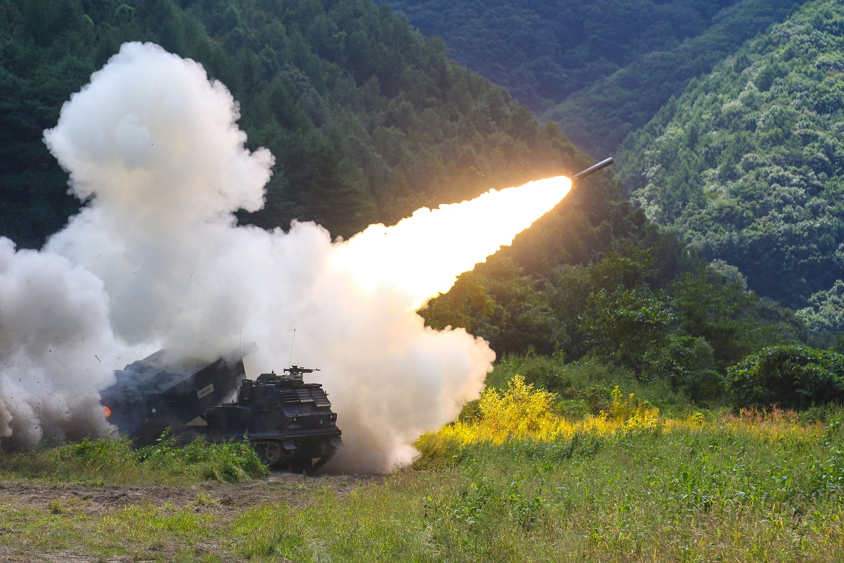 An M270 Multiple Launch Rocket System fires during a September 2017 exercise in Rocket Valley, South Korea. Long range fires will be a priority for the new joint war-fighting concept. (Sgt. Michelle U. Blesam/U.S. Army)