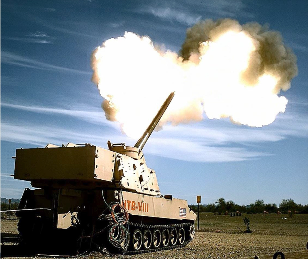 The Army took two shots from its Extended Range Cannon Artillery system, which both reached 65 kilometers in range and hit their intended targets, in a demonstration at Yuma Proving Ground, Ariz., on March 6, 2020. The demo proved the cannon is capable of firing roughly 40 miles. A long-range cannon is intended to give the service a desired level of standoff outside of the range of enemy artillery. (Edward Lopez/U.S. Army)
