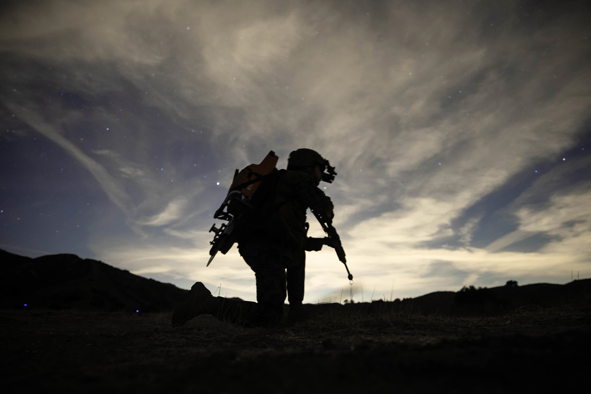 U.S. Marine Corps Lance Cpl. Michael Wick provides security during a Tactical Recovery of Aircraft and Personnel (TRAP) exercise at Marine Corps Base Camp Pendleton, Calif., Dec. 16, 2020. (Sgt. Jennessa Davey/Marine Corps)