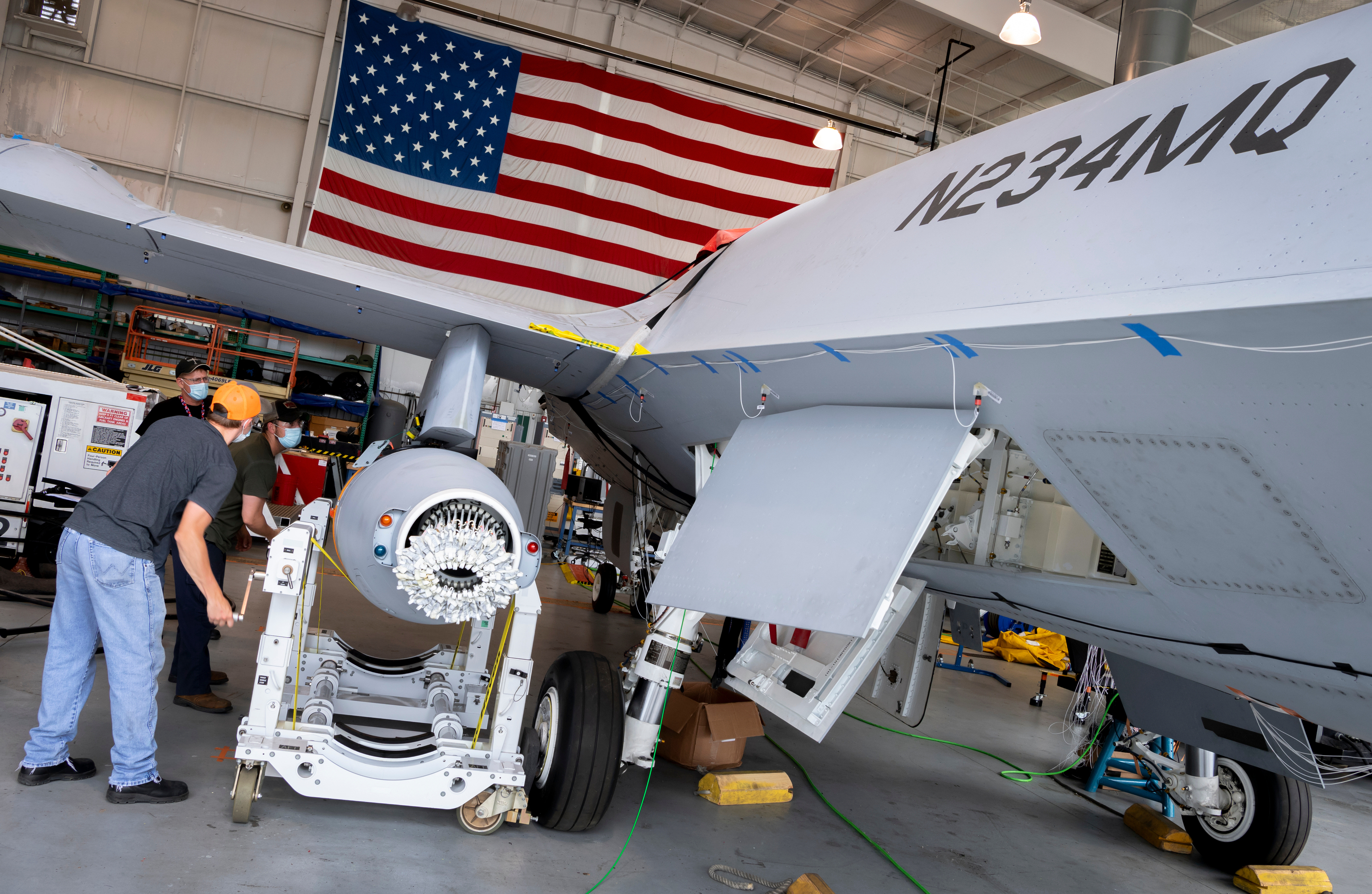 An aerial refueling store is installed on the MQ-25 T1 test article. (Courtesy of Boeing)