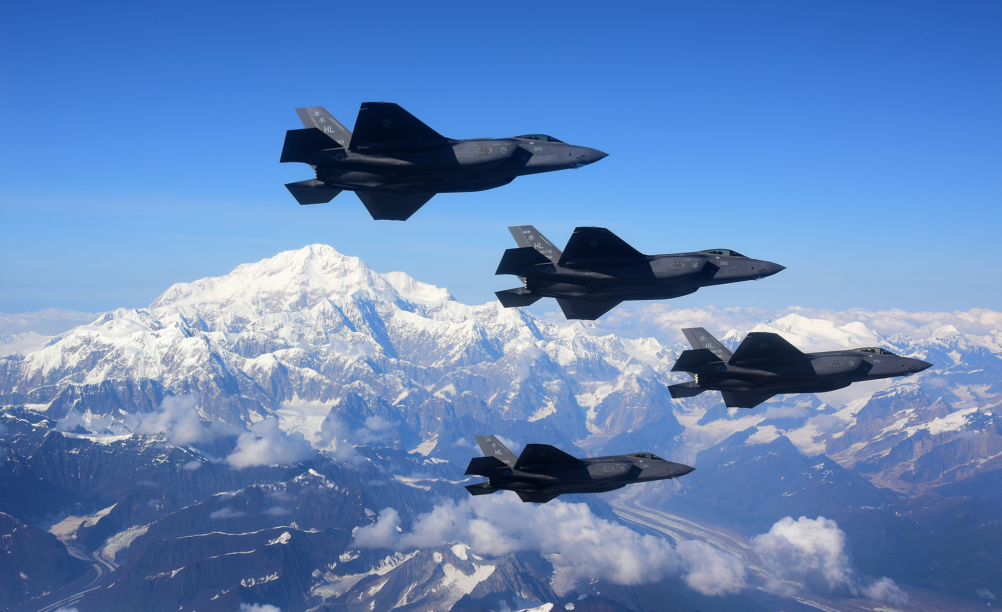 Four F-35A Lightning IIs fly in formation over Denali National Park, Alaska, Aug. 17, 2020. (Tech. Sgt. Jerilyn Quintanilla/Air Force)