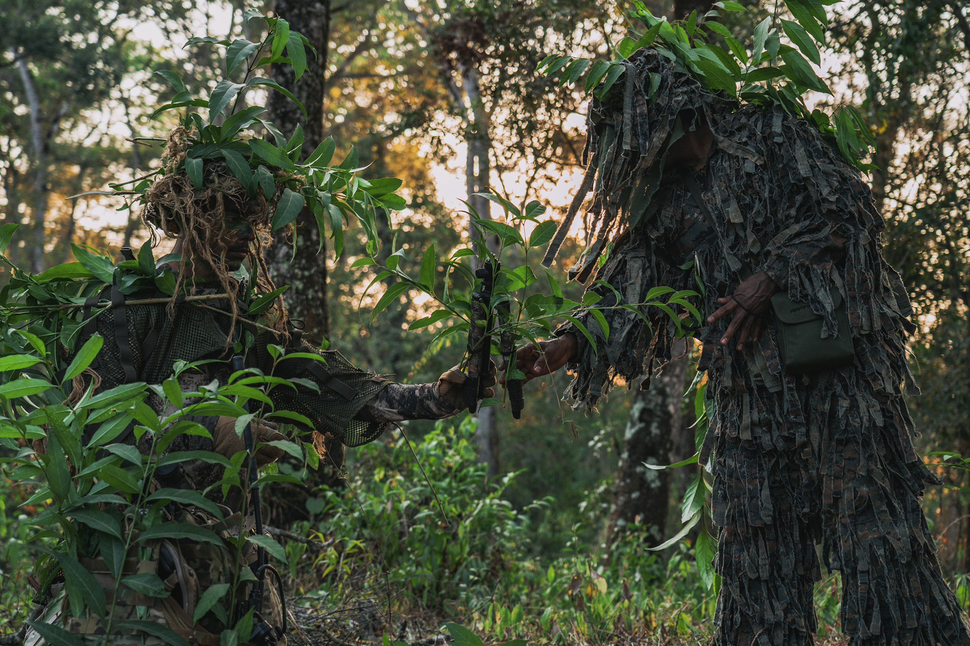 A member of the 7th Special Forces Group (Airborne) prepares a sniping position with Guatemalan Special Forces prior to a training exercise in Guatemala, March 3, 2020. (Spc. Aaron Schaeper/Army)