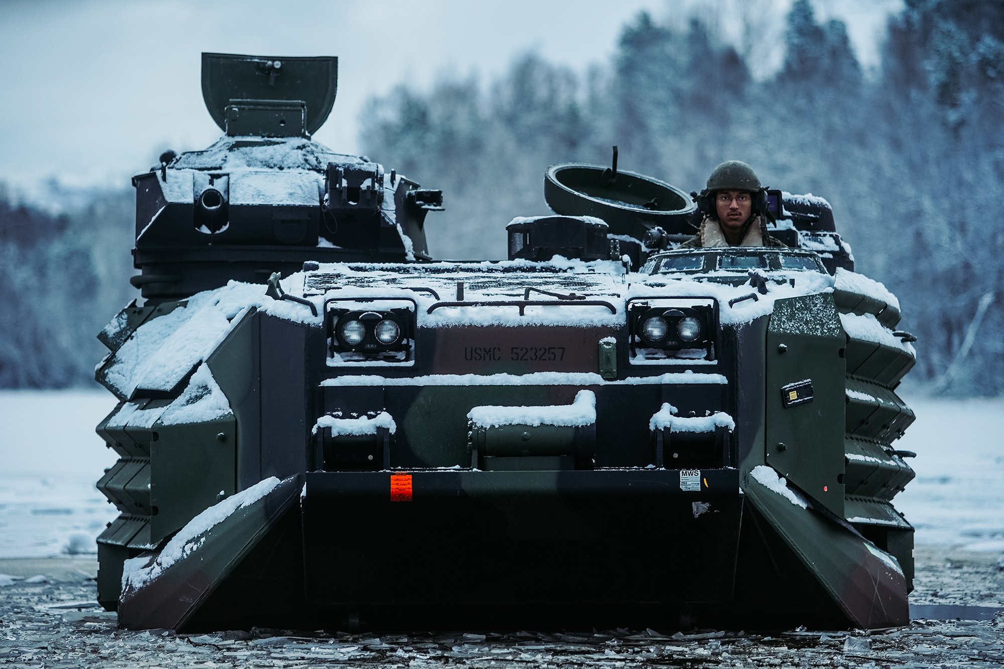 U.S. Marines conduct a safety of use memorandum on an assault amphibious vehicle in preparation for Exercise Reindeer II, Reindeer I, and Joint Viking in Setermoen, Norway, Nov. 19, 2020. (Cpl. William Chockey/Marine Corps)