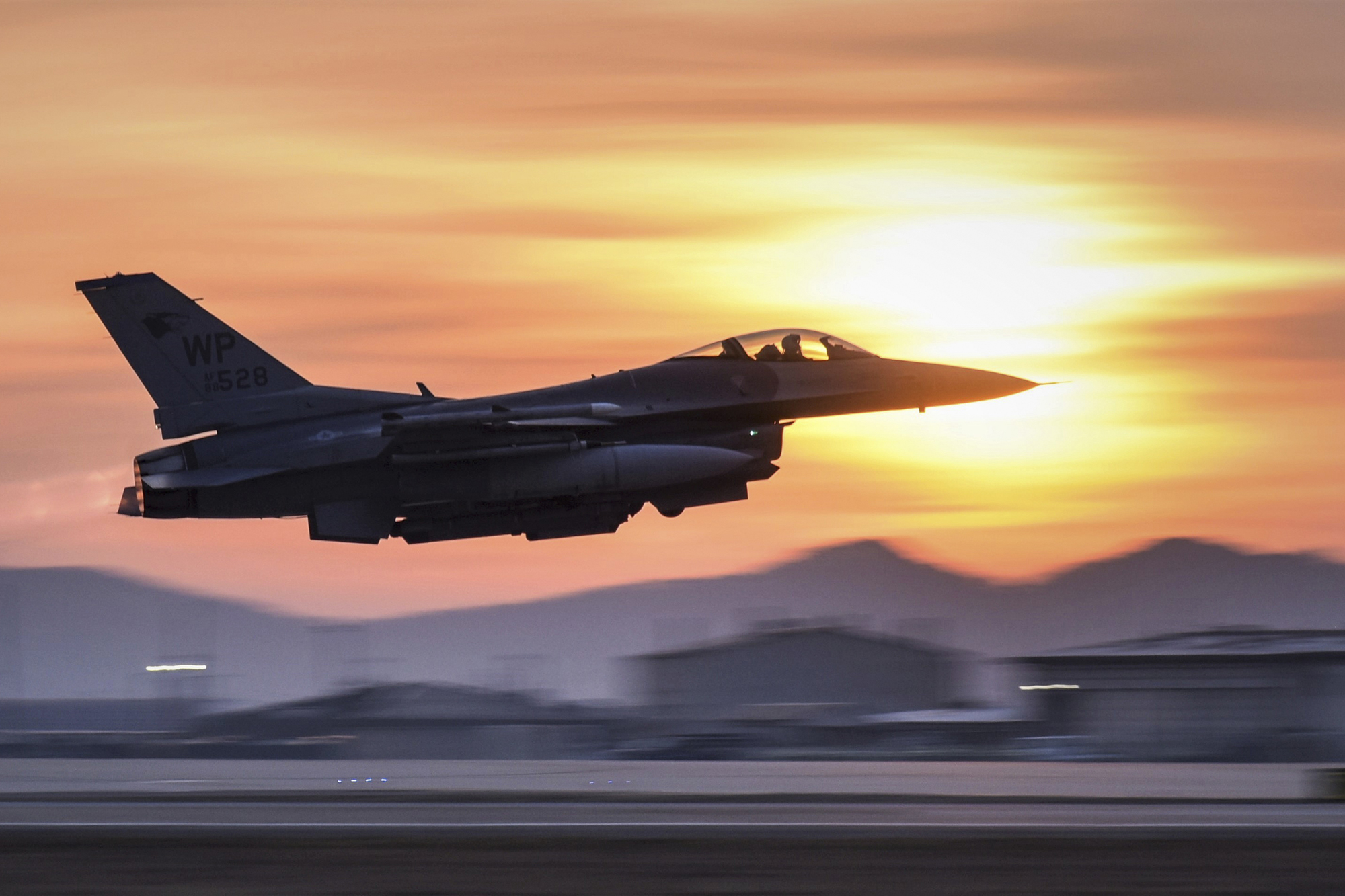 An 8th Fighter Wing F-16 Fighting Falcon takes off during a routine training event at Kunsan Air Base, Republic of Korea, March 24, 2021. (Tech. Sgt. Kristin S. High/Air Force)