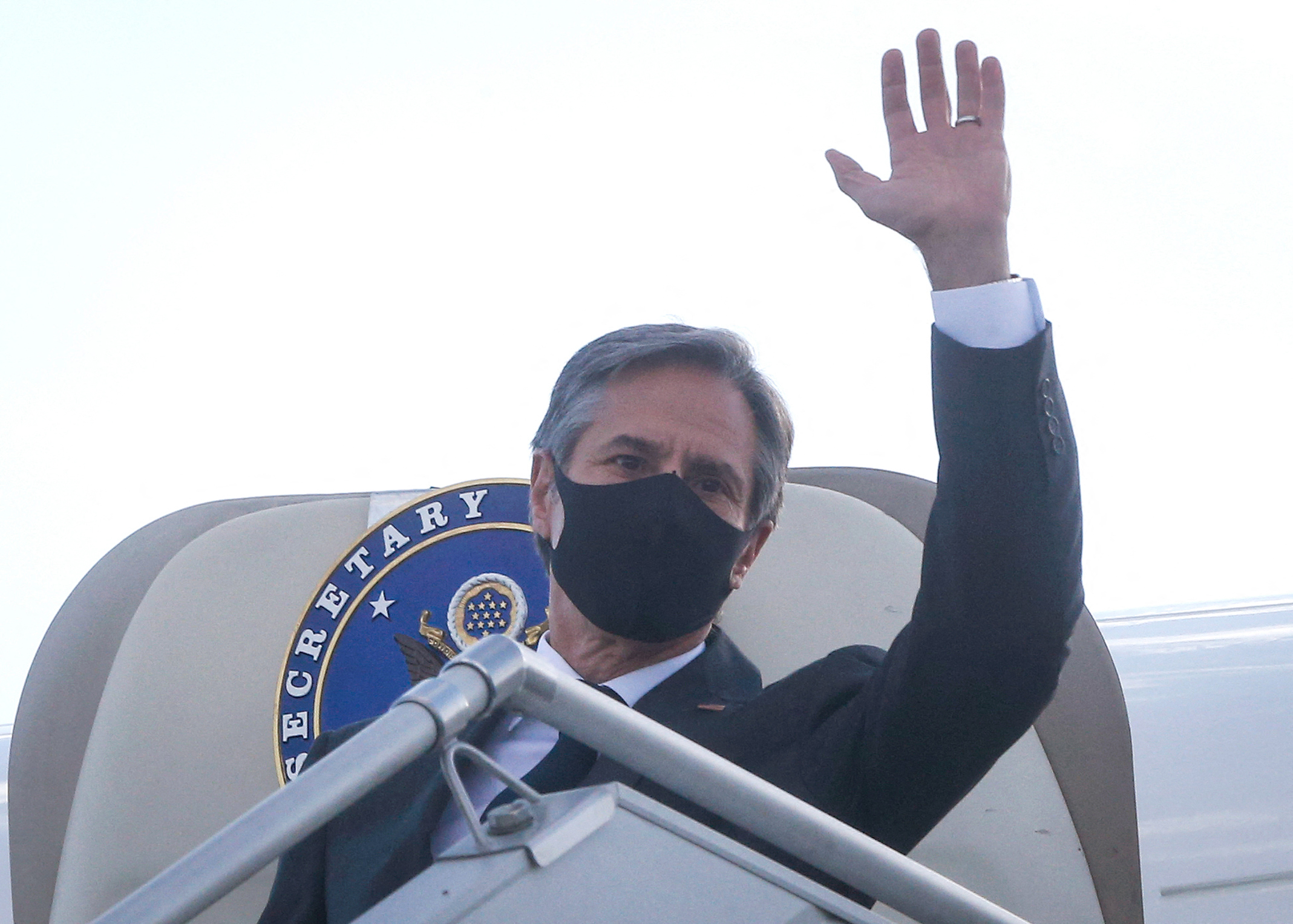 U.S. Secretary of State Antony Blinken waves as he leaves after a diplomatic visit in Ukraine on May 6, 2021. (Efrem Lukatsky/AFP via Getty Images)
