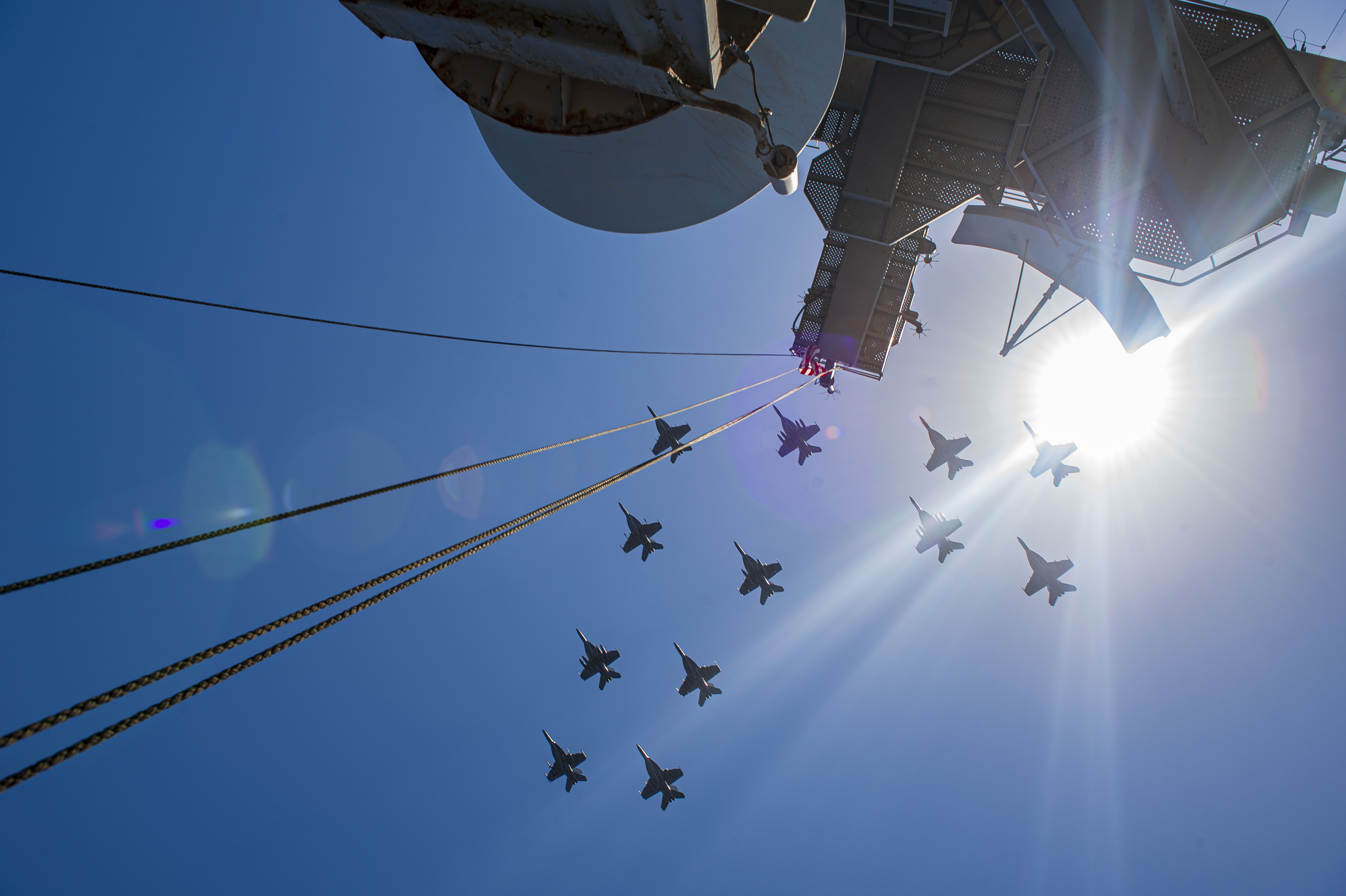 F/A-18E Super Hornet fighter jets attached to the