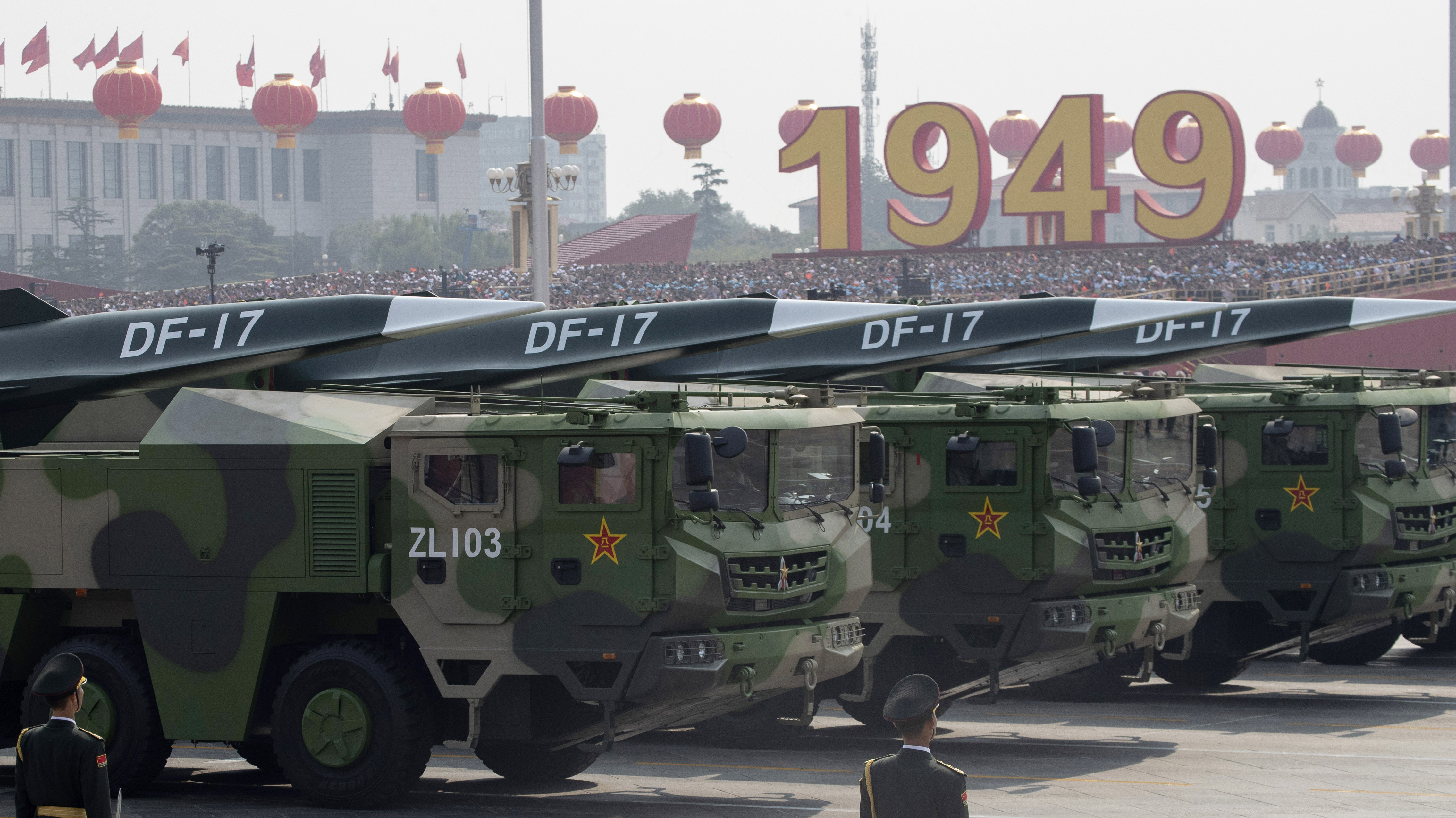 Chinese military vehicles carrying DF-17 roll during a parade to commemorate the 70th anniversary of the founding of Communist China in Beijing, Tuesday, Oct. 1, 2019. Military planners in Washington and elsewhere will be taking note of new missile technology displayed by China, particularly the hypersonic Dong Feng 17 or DF17 ballistic nuclear missile believed capable of breaching all existing anti-missile shields deployed by the U.S. and its allies. (AP Photo/Ng Han Guan)