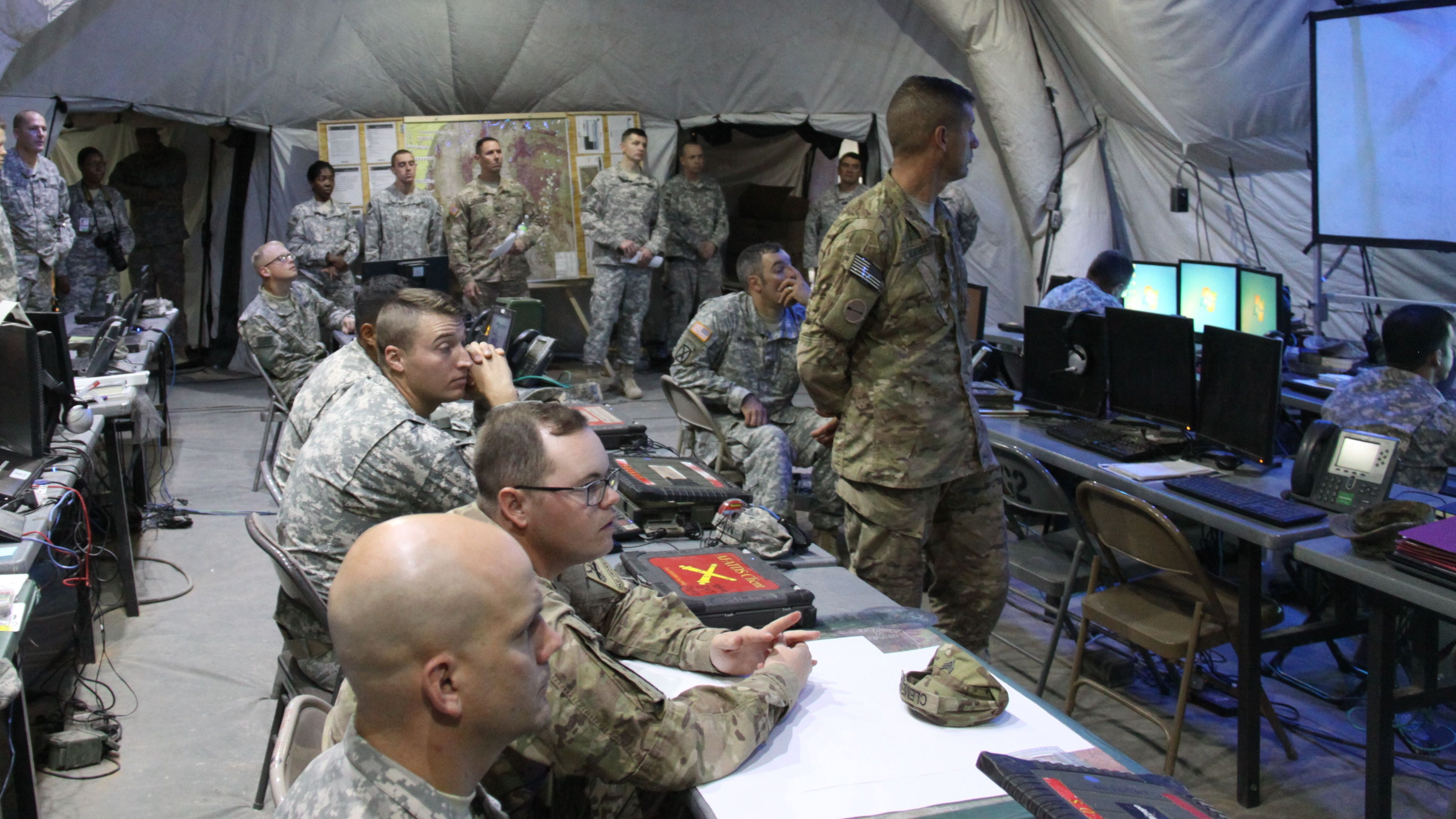 The Army wants to reduce the electronic signature of its command posts. (Amy Walker/U.S. Army)