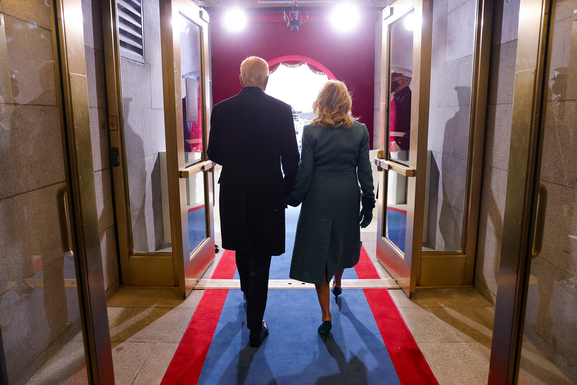 President-elect Joe Biden and Dr. Jill Biden arrive to Biden's inauguration on the West Front of the Capitol on Jan. 20, 2021, in Washington. (Win McNamee/Getty Images)
