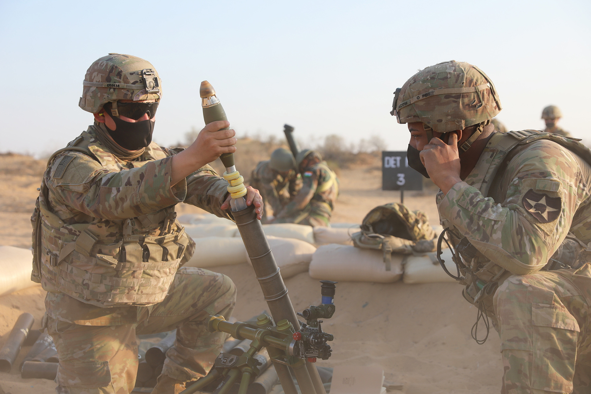 U.S. and Indian soldiers hone skills with various weapons during Exercise Yudh Abhyas in India, Feb. 12, 2021. (Staff Sgt. Joseph Tolliver/Army)