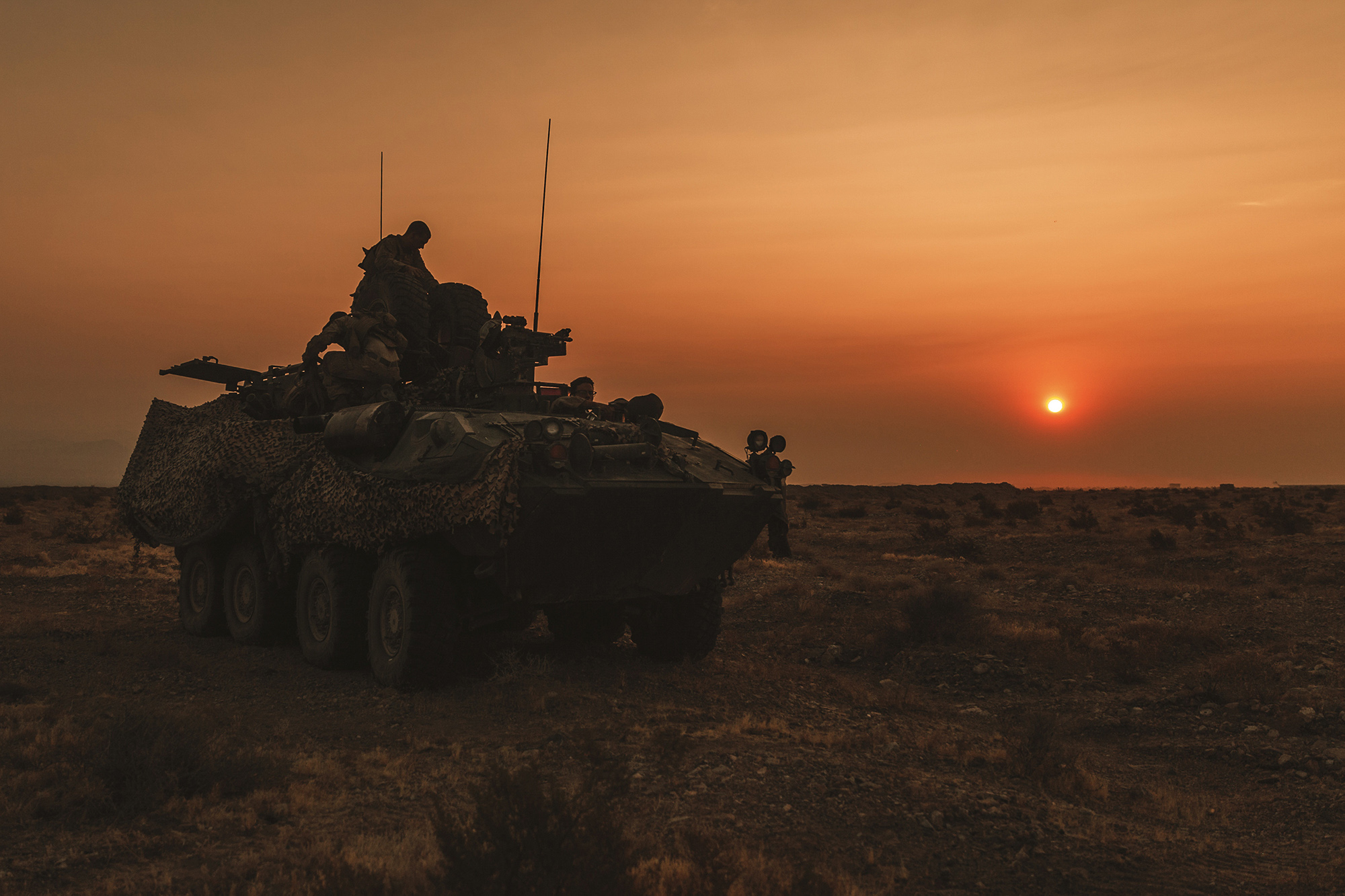 Marines operate a Light Armored Vehicle during a combat readiness evaluation at Marine Corps Air Ground Combat Center Twentynine Palms, Calif., Sept. 17, 2020. (Lance Cpl. William Redding/Marine Corps)