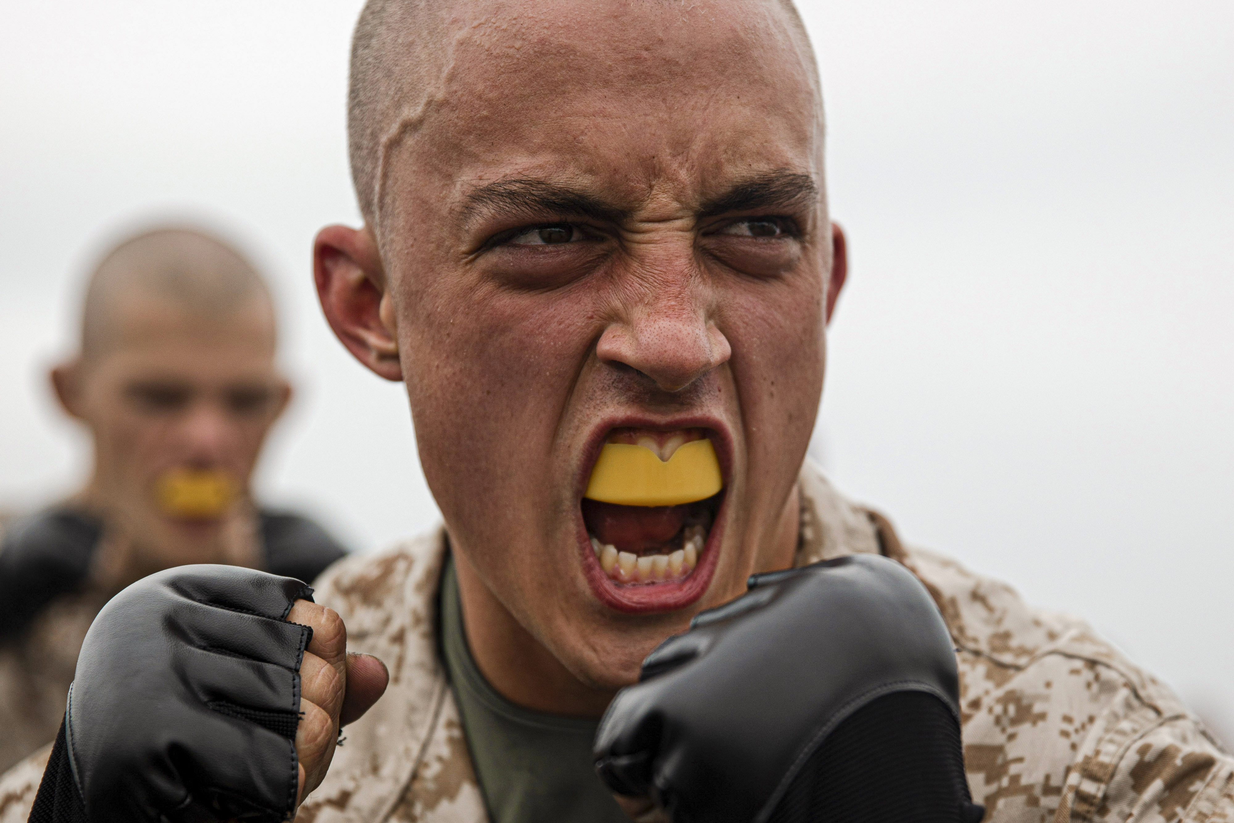 Recruit Stephen Moore, with Hotel Company, 2nd Recruit Training Battalion, takes part in a martial arts testing session at Marine Corps Recruit Depot San Diego, July 7. (Cpl. Anthony Pio/Marine Corps)