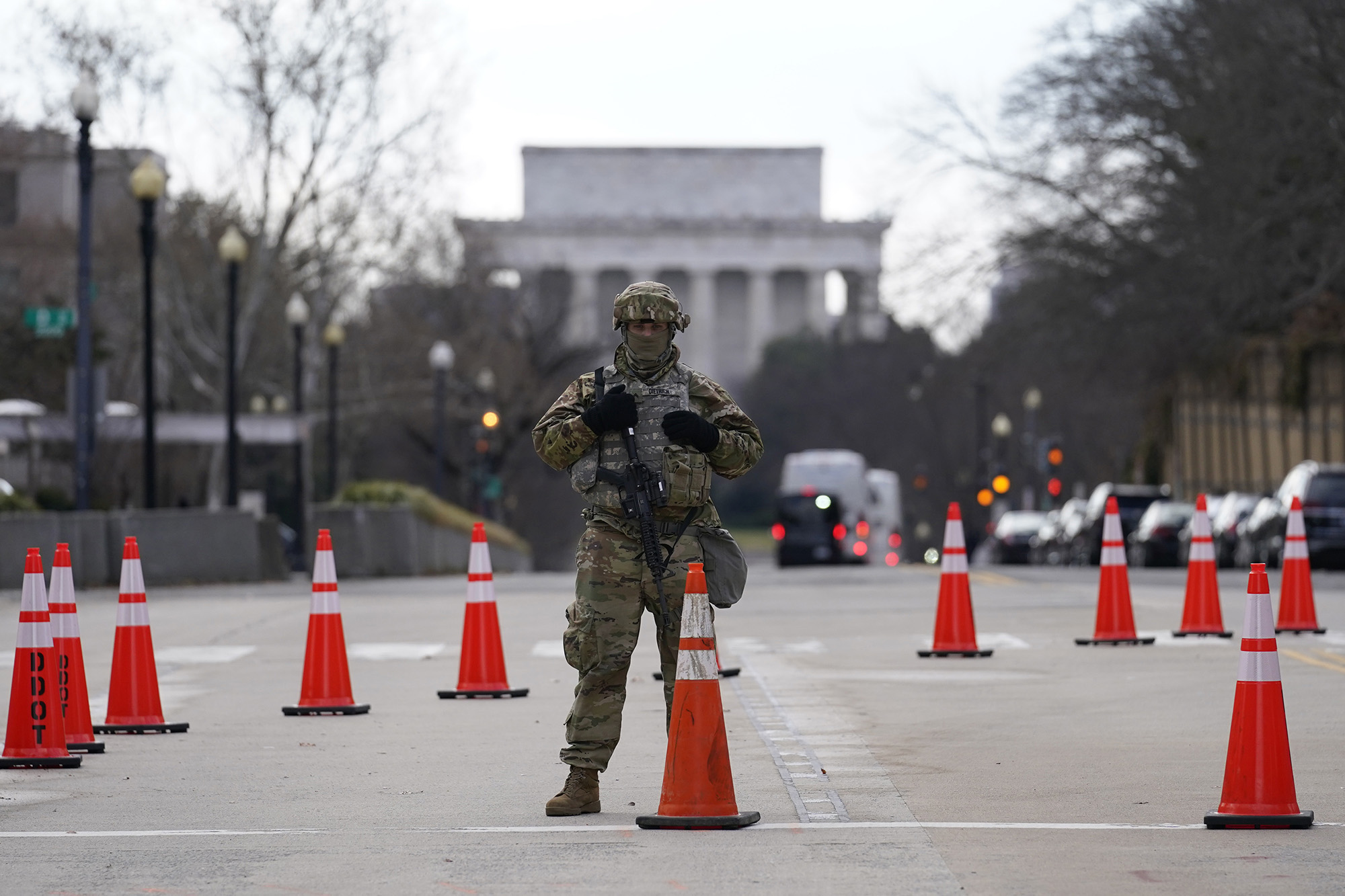 A National Guard stands at a road block near the Supreme Court ahead of President-elect Joe Biden's inauguration ceremony, Wednesday, Jan. 20, 2021, in Washington. (Gerald Herbert/AP)