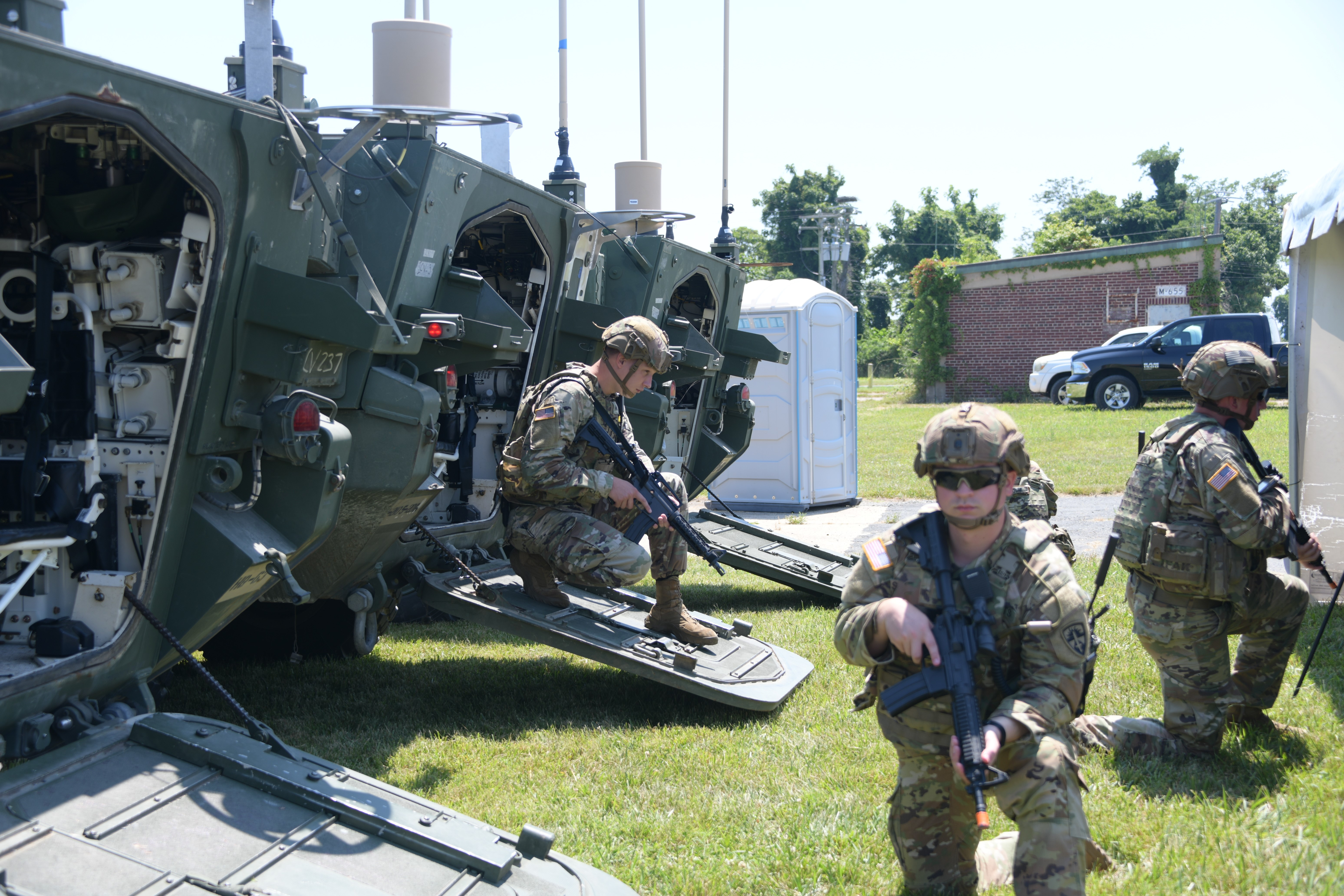 Soldiers demonstrated new U.S. Army tactical network capabilities for Stryker brigades on June 30 at Aberdeen Proving Ground. (U.S. Army)
