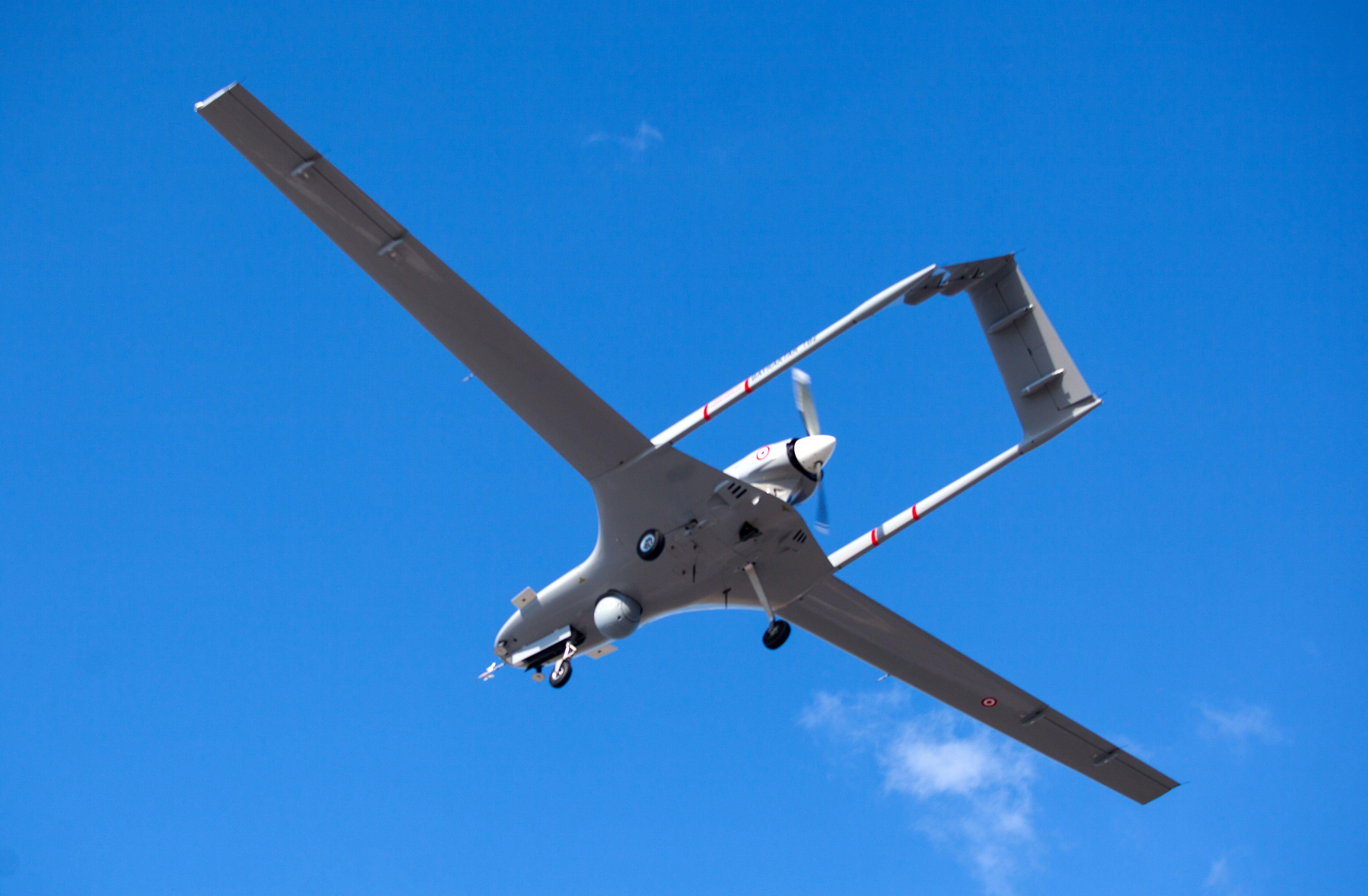 A Turkish-made TB2 drone flies on Dec, 16, 2019. (Birol Bebek/AFP via Getty Images)