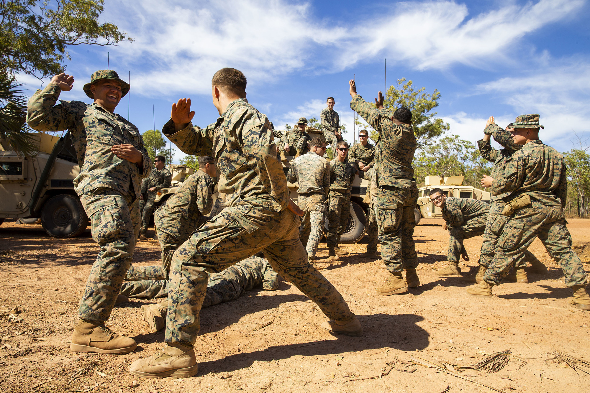 U.S. Marine Corps Lance Cpls. Jarom Hofmann and Jonathan Steed take a break from training at Kangaroo Flats Training Area, Northern Territory, Australia, July 27, 2020. (Cpl. Harrison Rakhshani/Marine Corps)