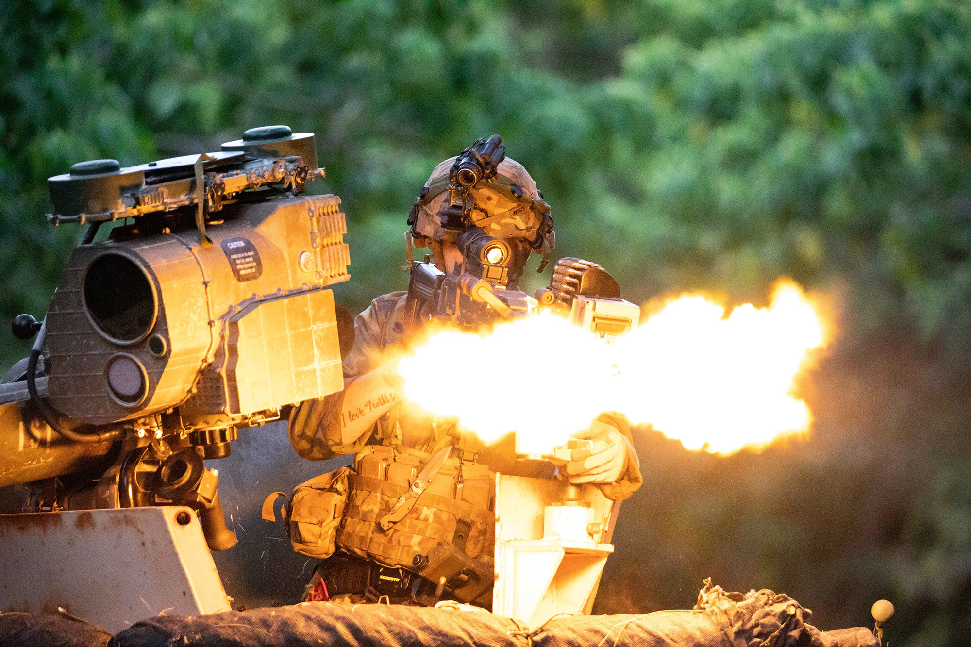 Soldiers assigned to the 3rd Infantry Brigade Combat Team, 25th Infantry Division continue to support 2nd Infantry Brigade Combat Team and the Royal Thai Army (RTA) as the Opposing Force (OPFOR) during Exercise Lightning Forge 2020 at the Kahuku Training Area, Hawaii on July 15, 2020. (1st Lt. Angelo Mejia/Army)