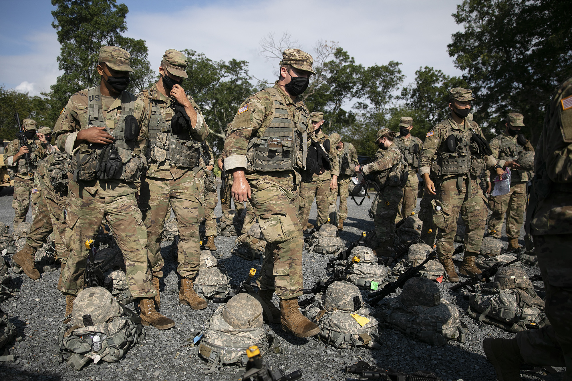 Cadets wear masks during training, Friday, Aug. 7, 2020, in West Point, N.Y. (Mark Lennihan/AP)