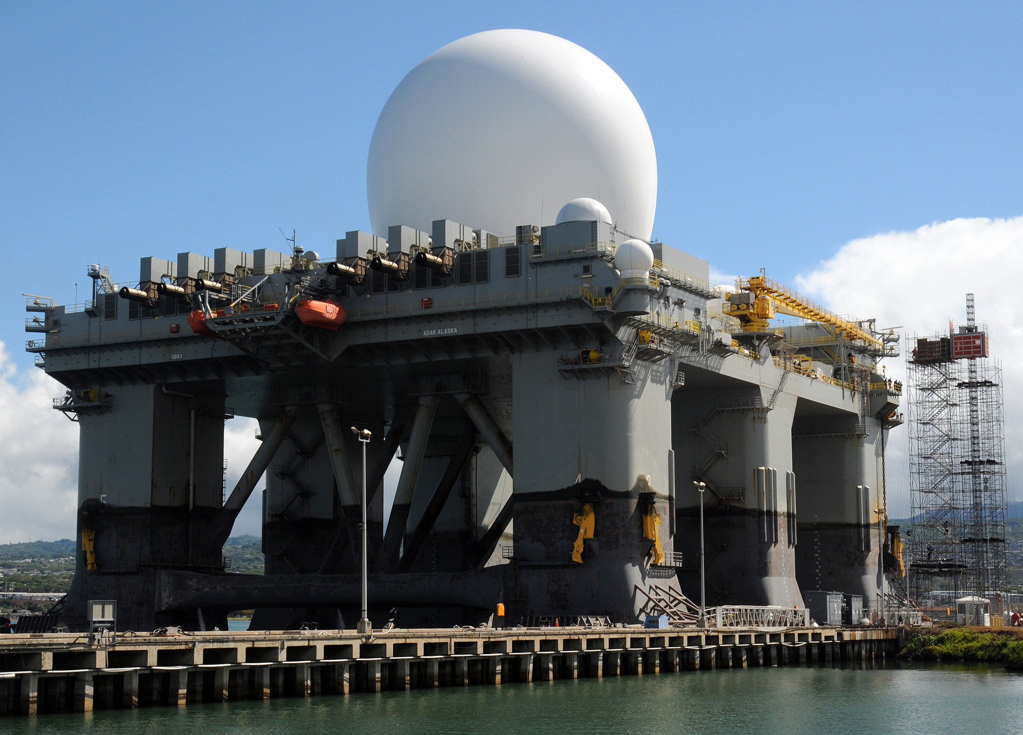 The Sea-Based X-Band Radar is a deployed system designed to protect the Pacific region from ballistic missile threats and could be used in concert with a Homeland Defense Radar in Hawaii. (MC2 Robert Stirrup/U.S. Navy)