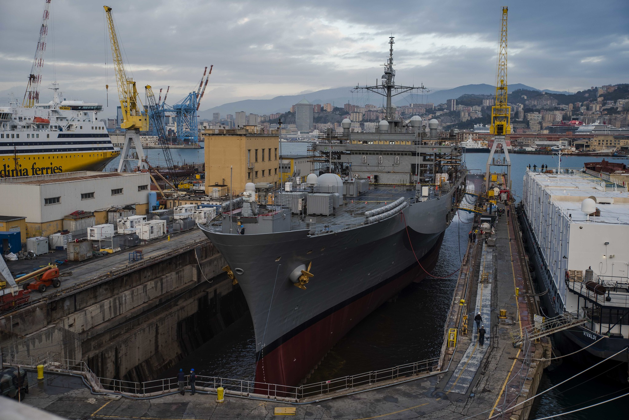 The dock around the Blue Ridge-class command and control ship USS Mount Whitney (LCC 20) fills with water during the ship's dry dock phase at San Giorgio Del Porto in Genoa, Italy, Nov. 13, 2020. (MC2 Scott Barnes/Navy