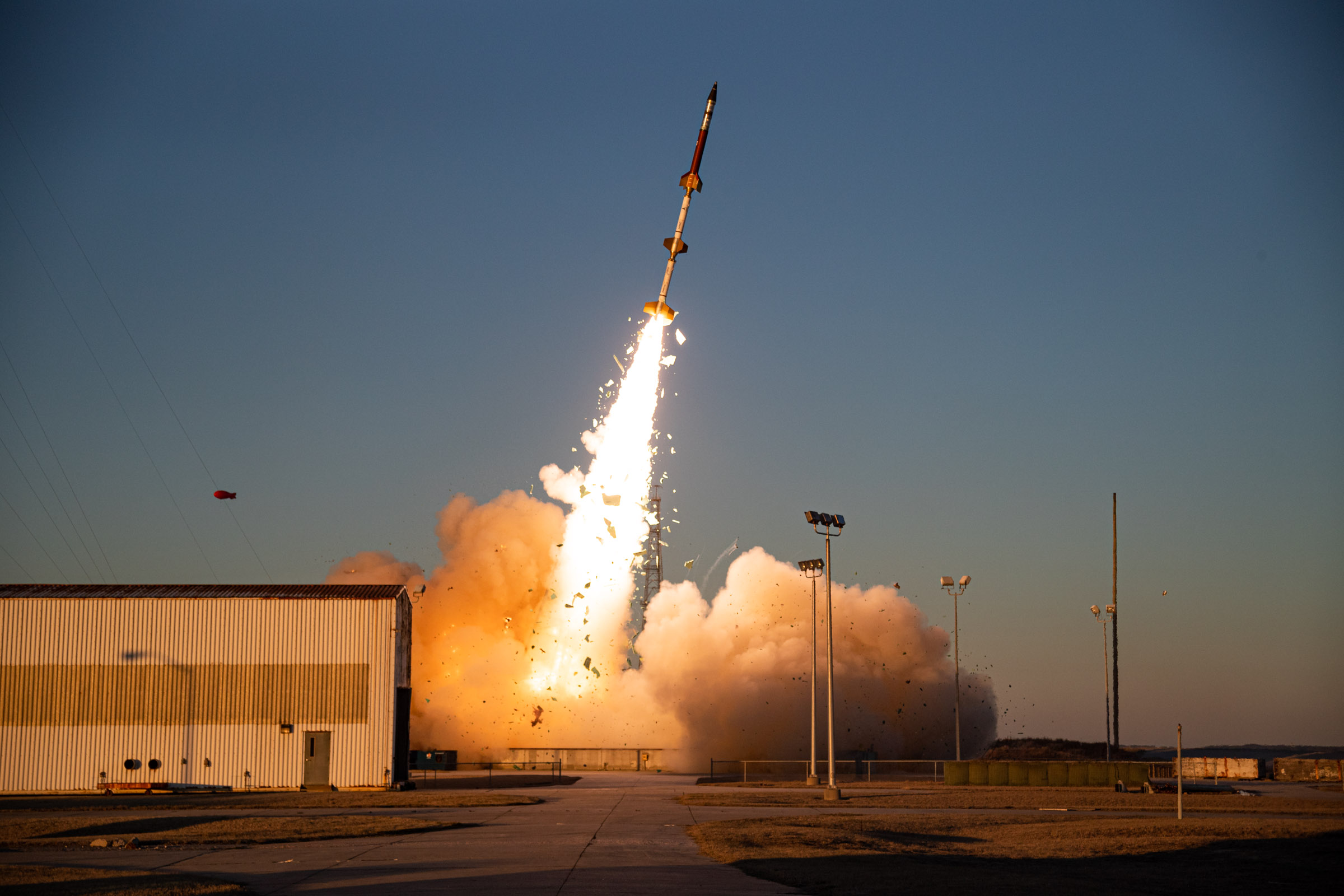 A Terrier-Terrier-Oriole sounding rocket, carrying an experimental research payload for the Air Force Research Laboratory, launches March 3 from NASA Wallops Flight Facility on Wallops Island, Va. (NASA Wallops)
