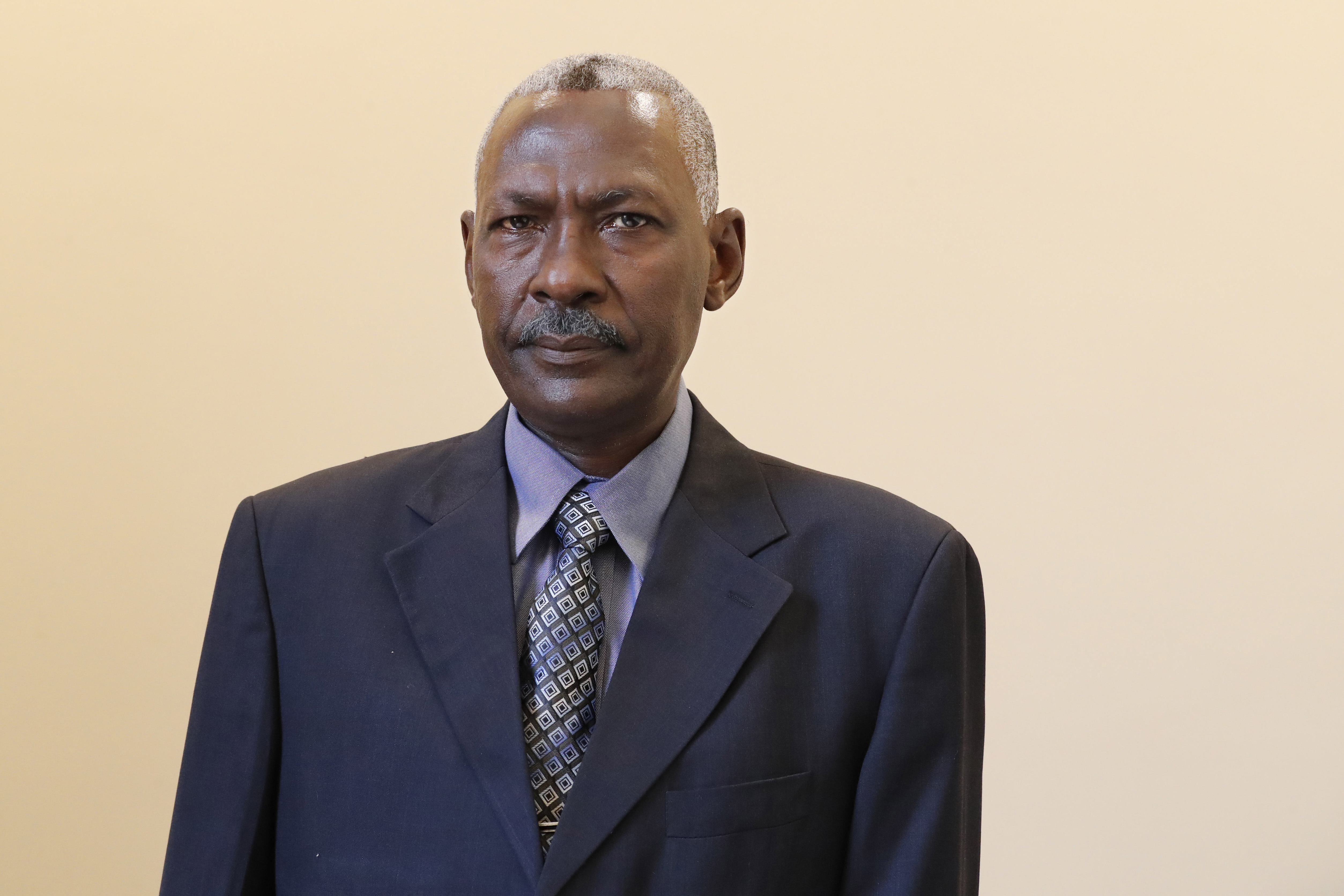 Maj. Gen. Yassin Ibrahim Yassin poses for a portrait after taking the oath as defense minister at the Presidential Palace in Khartoum, Sudan, on June 2, 2020. (Marwan Ali/AP)