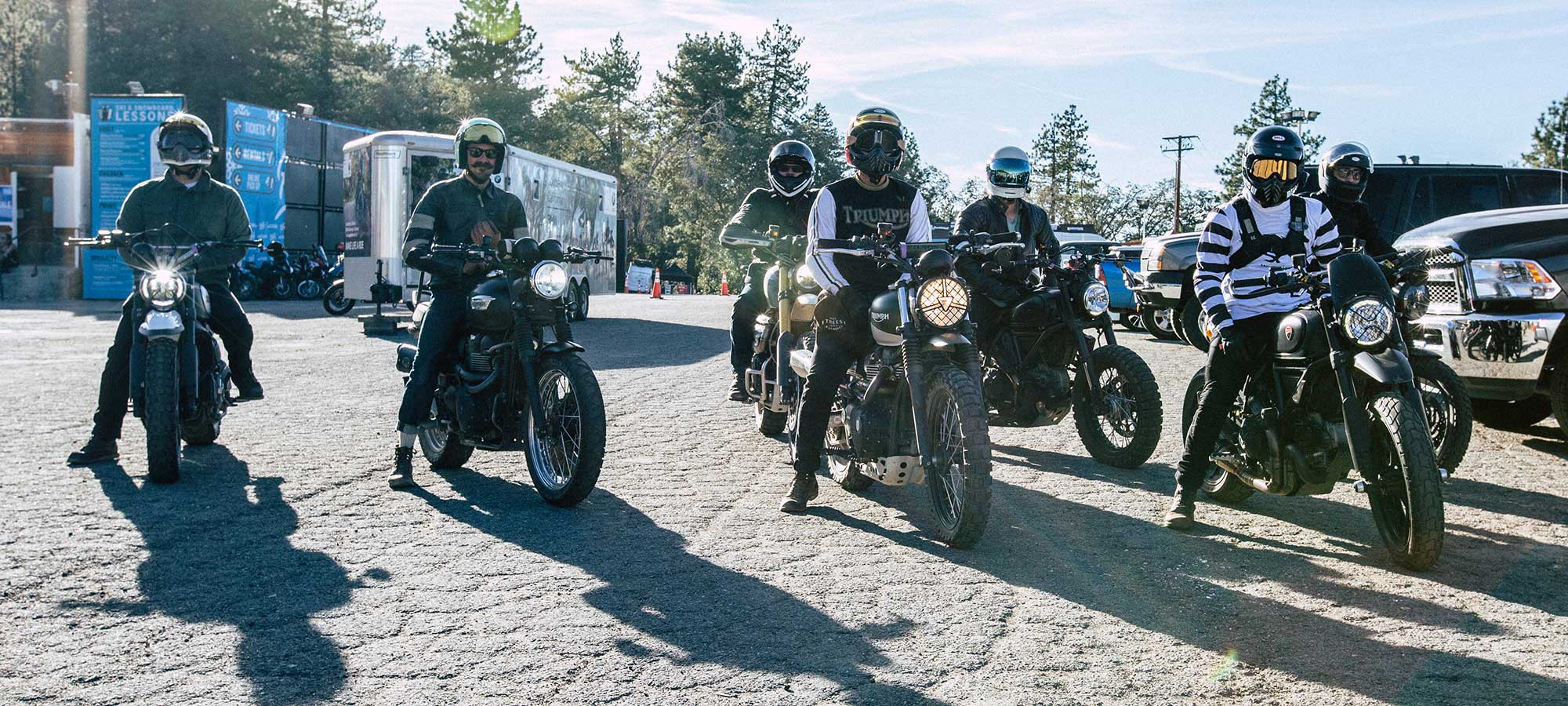 Riding roads and trails around Mountain High, California, for the third annual HighPipe Scrambler Moto Rally!