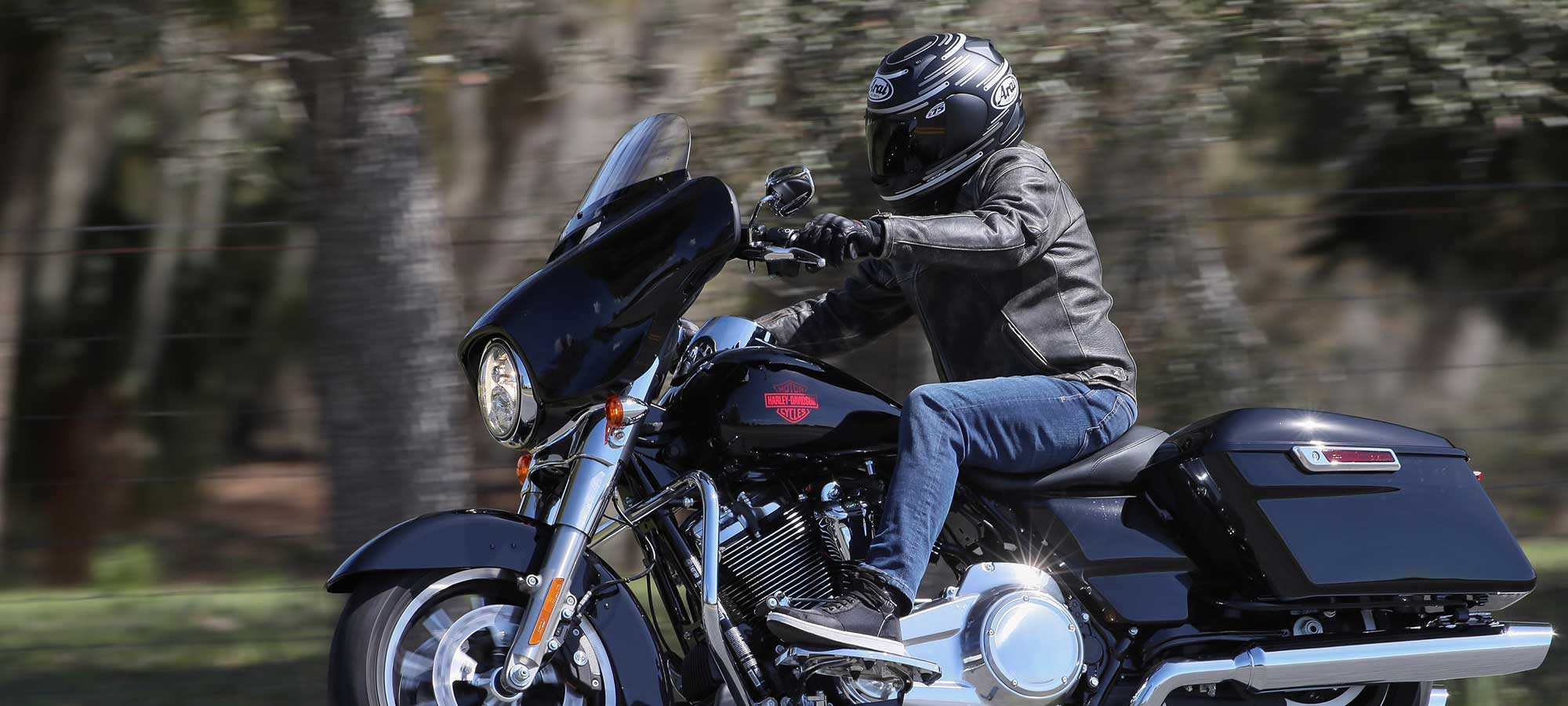 Biker on the 2019 Harley-Davidson Electra Glide Standard.