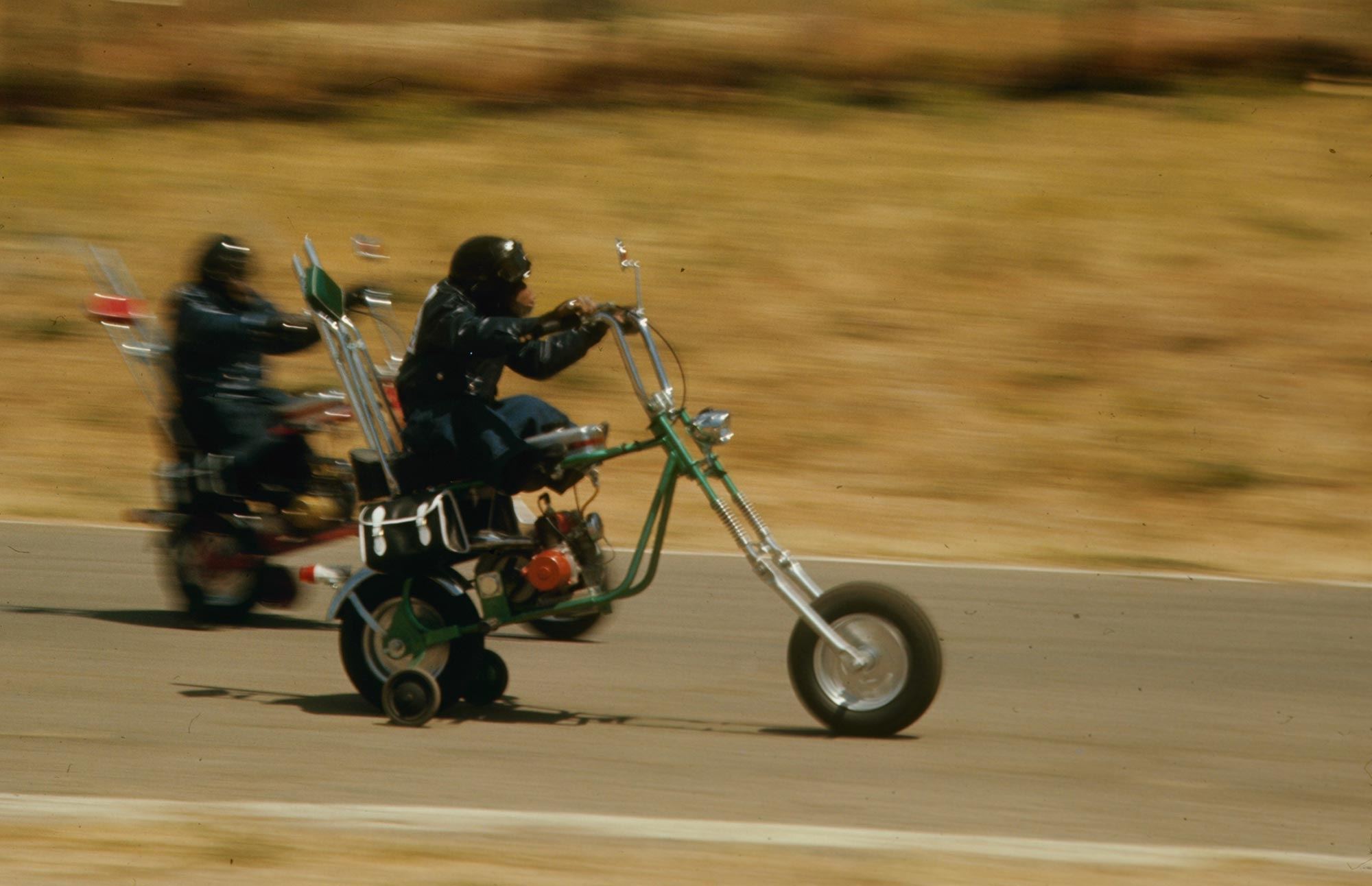 A '70s TV show called Lancelot Link featured chimpanzees riding highly modified minibikes