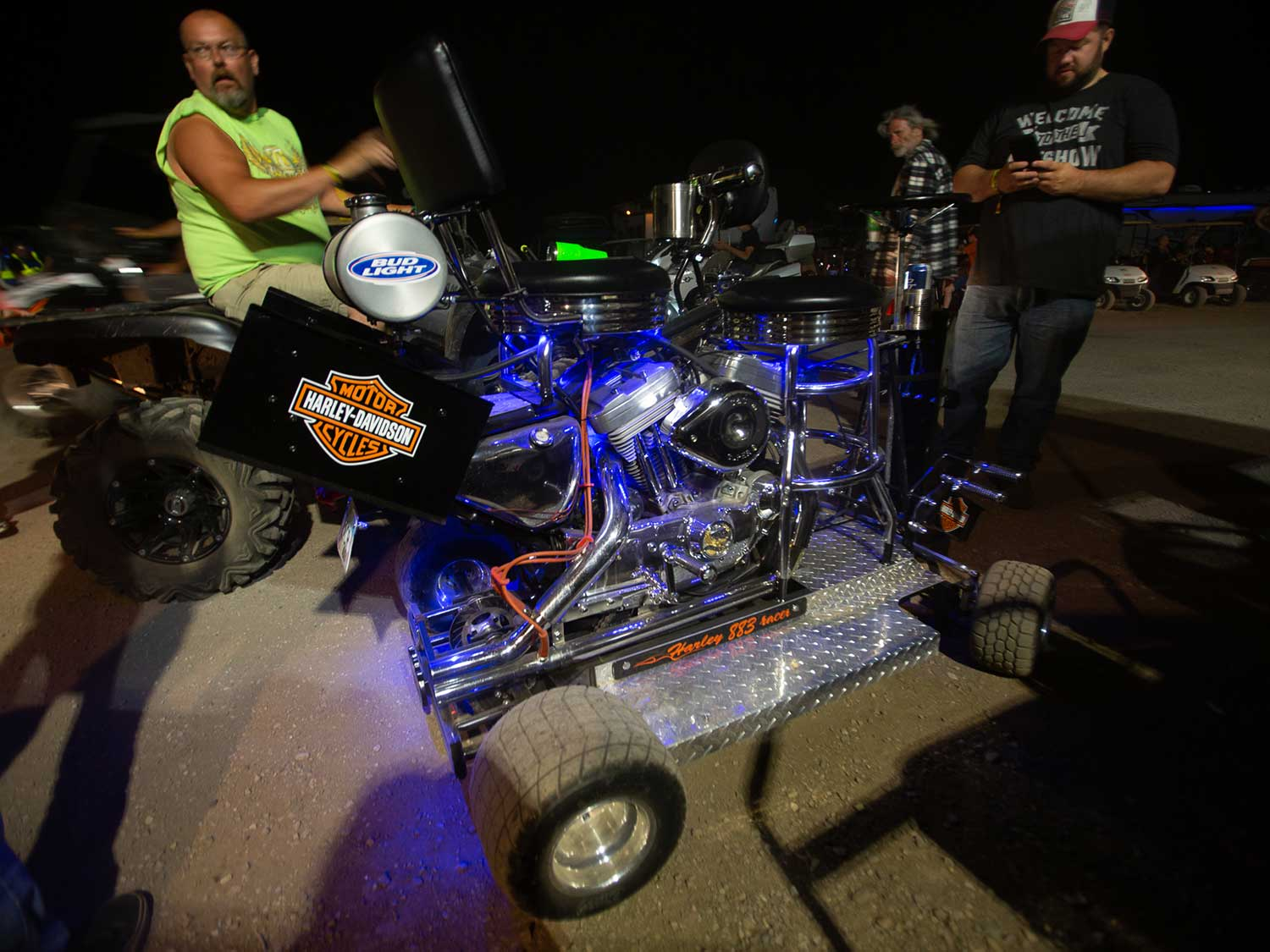 A two-person barstool kart powered by a Sportster 883 engine