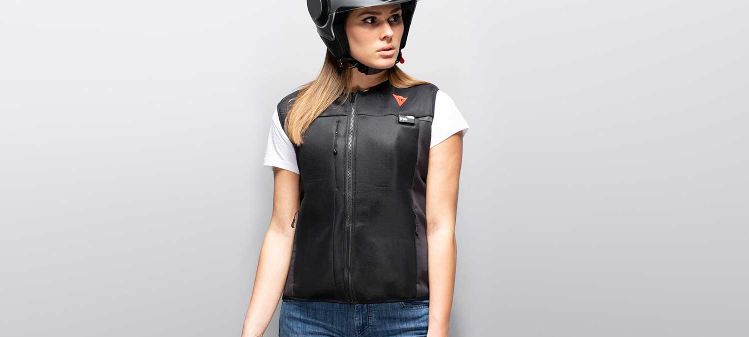 Dainese D-air Motorcycle Airbag Vest worn by model in front of white background.