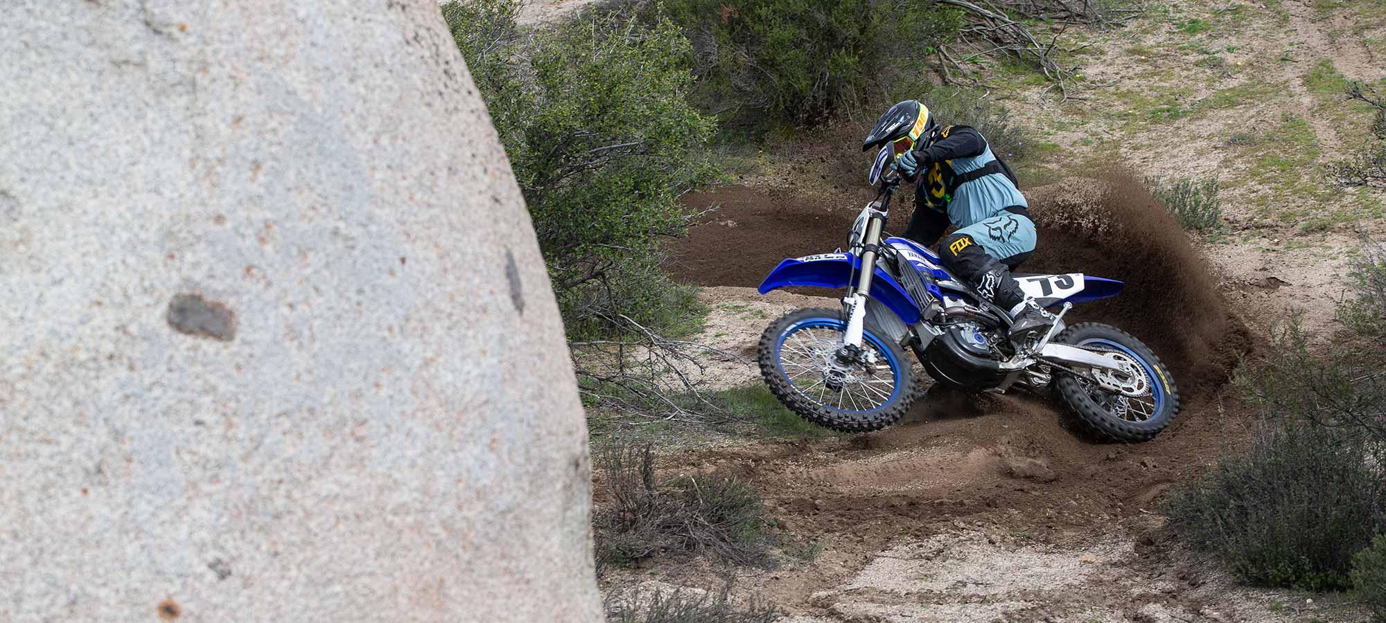 2019 Yamaha YZ450FX with biker riding it.