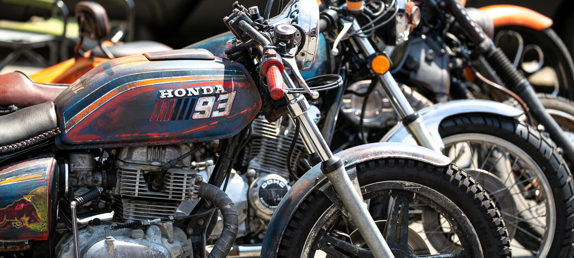 Honda motorcycle at the Motoblot custom show.