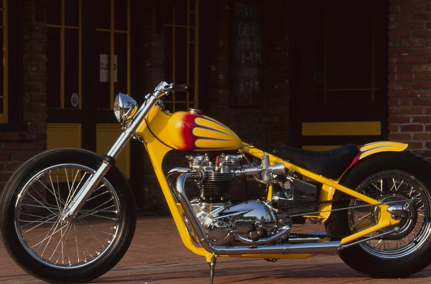 THot-rod car collector Tom Shiffilea got back to his motorcycling roots with this 650cc Triumph.