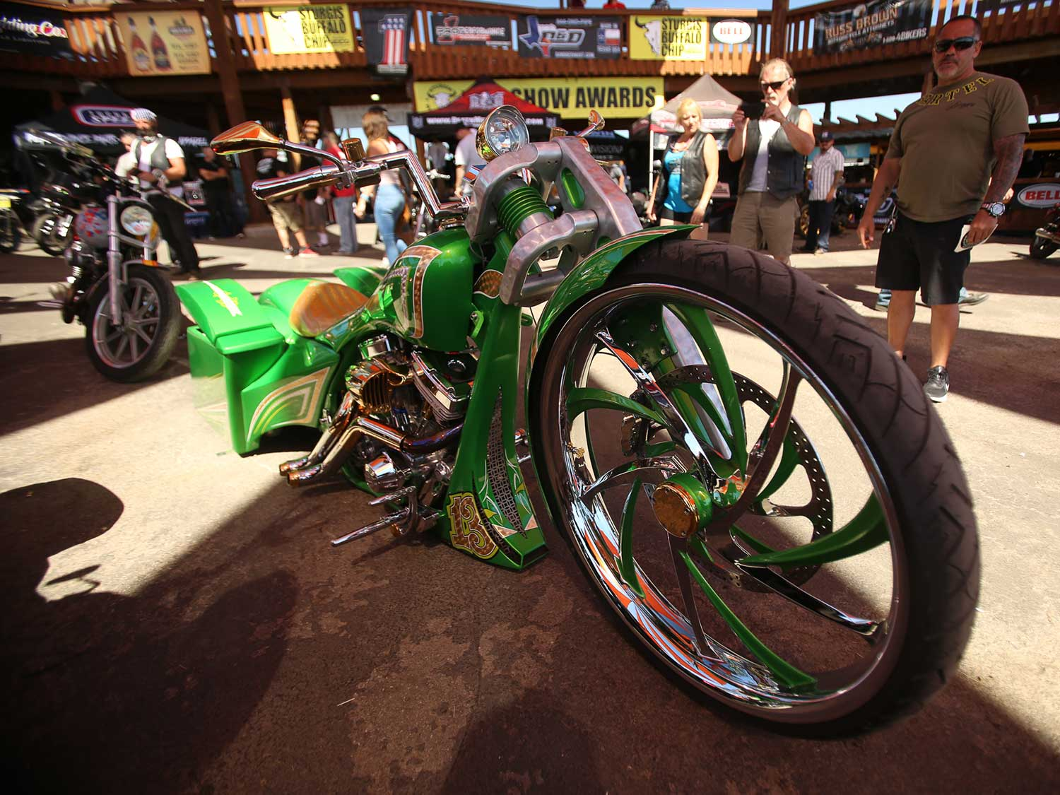 Custom green motorcycle at Sturgis 2020