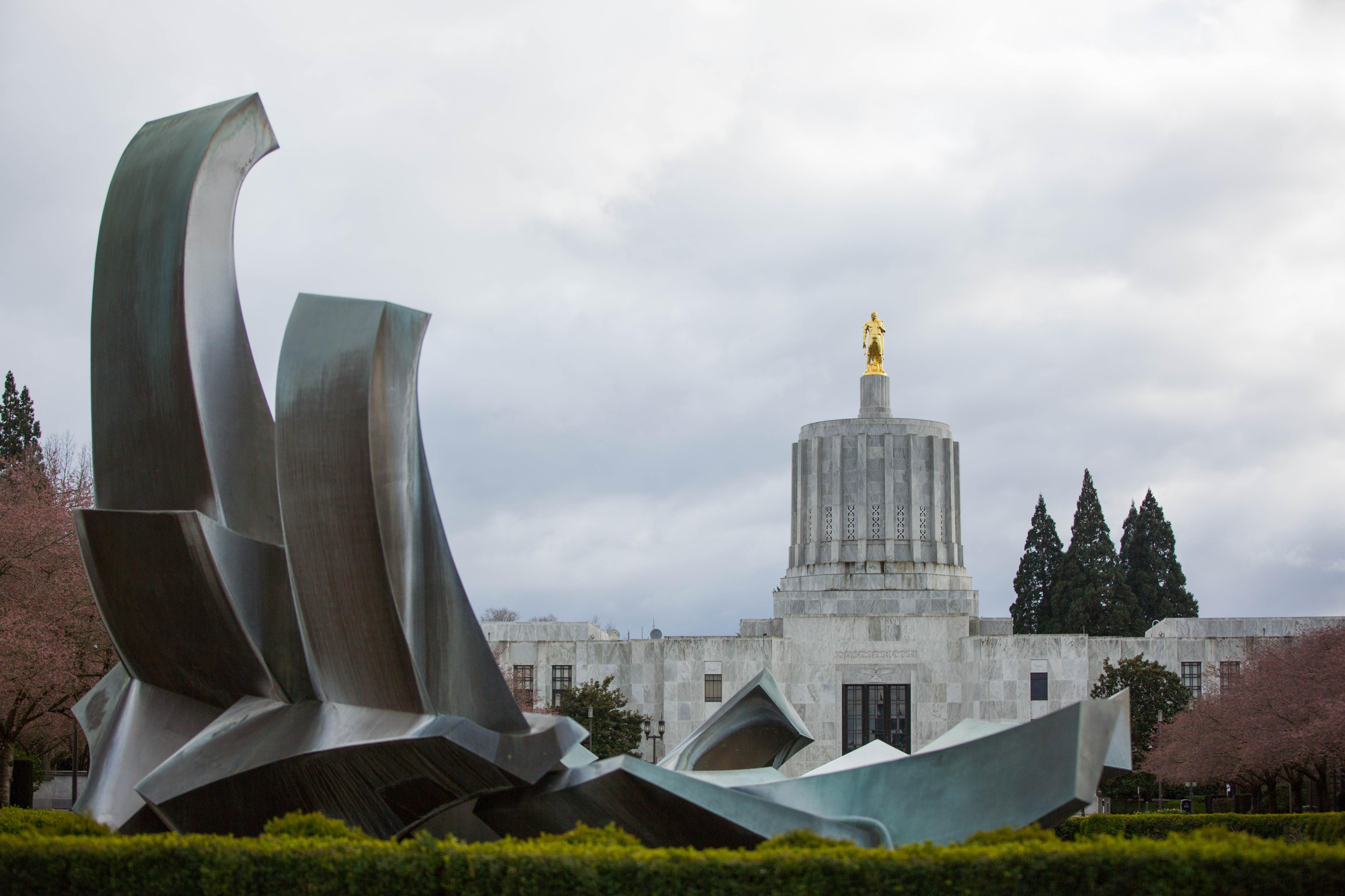 The Oregon Capitol in Salem, Oregon, Saturday, March 18, 2017. A new complaint by Oregon Labor Commissioner Brad Avakian alleges Oregon legislative leaders fostered a hostile workplace by not taking sexual harassment claims seriously enough.