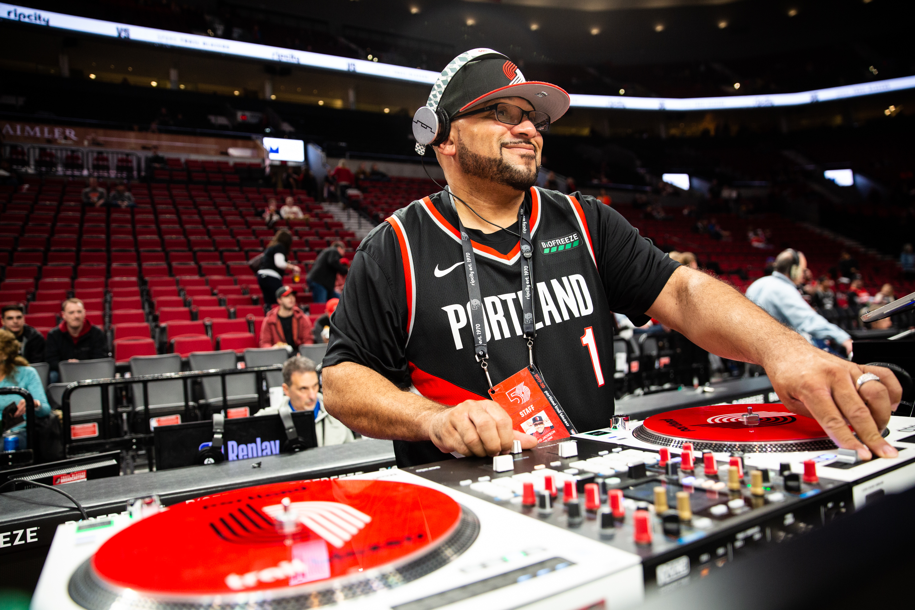 """David Jackson, """"DJ OG One,"""" plays tracks during pregame of a National Basketball Association Game between the Portland Trail Blazers and San Antonio Spurs at the Moda Center in Portland, Ore., Thursday, Feb. 6, 2020."""