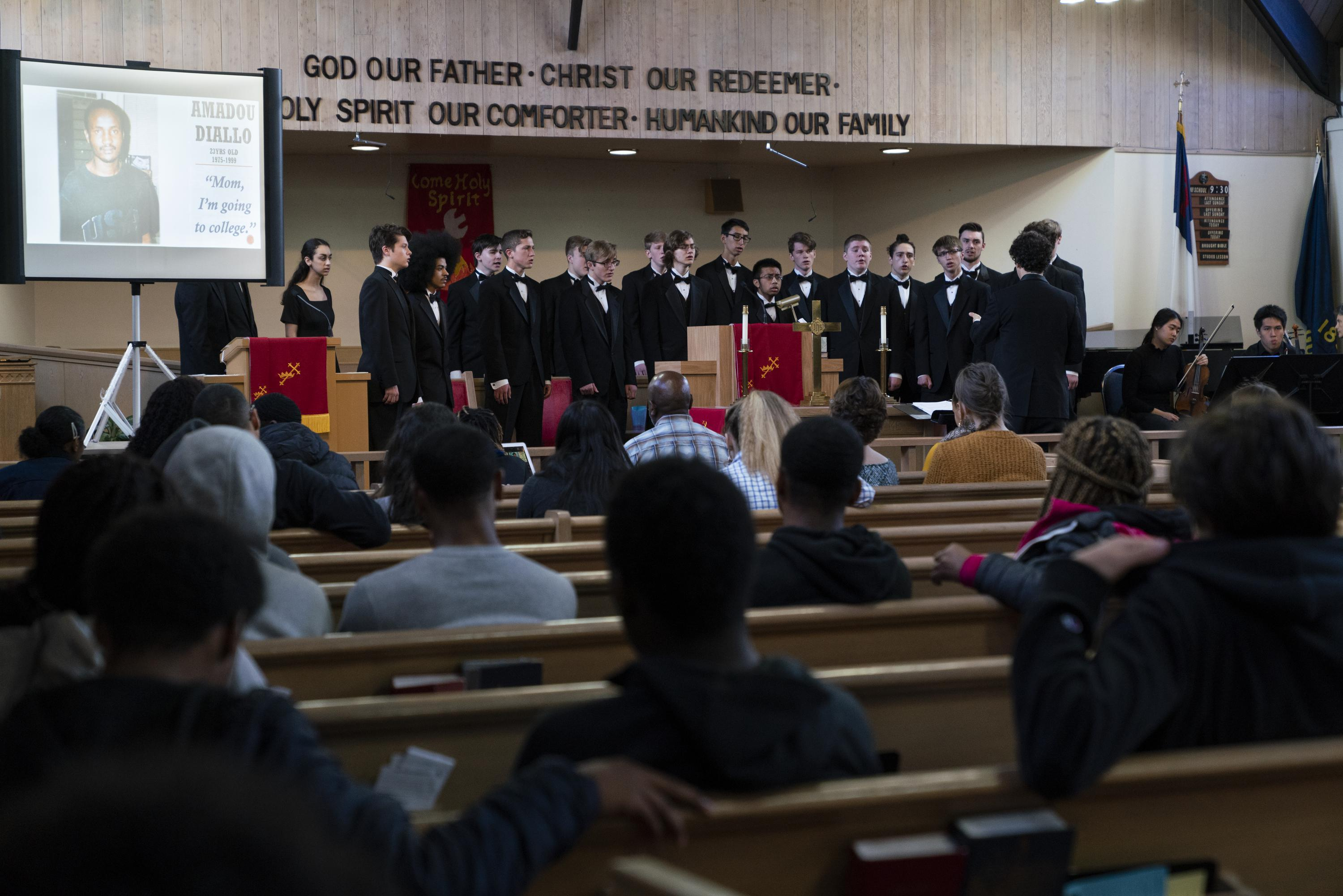 PORTLAND, OR - APRIL 26: The Camas High School Mens Choir performs Seven Last Words for students from Roosevelt and Jefferson High Schools on April 26, 2019, at the Bethel AME Church in North Portland, Oregon.