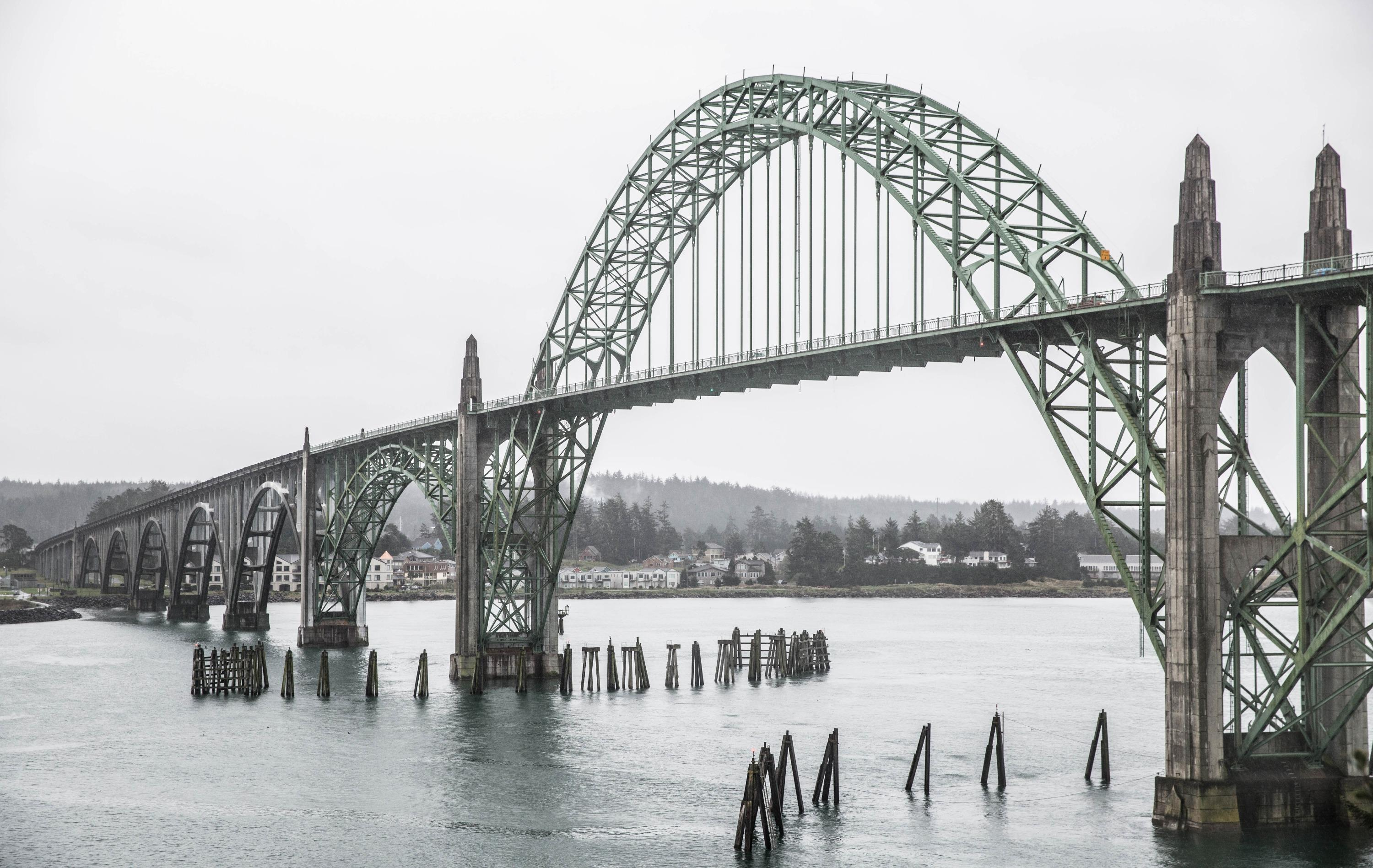 The Yaquina Bay Bridge in Newport, Oregon, was constructed in 1936.