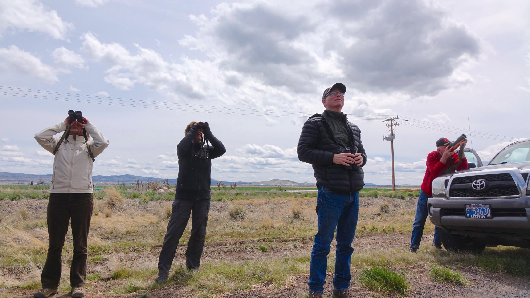 Kevin Spencer (3rd from left) leads a birding field trip at the Klamath refuges.