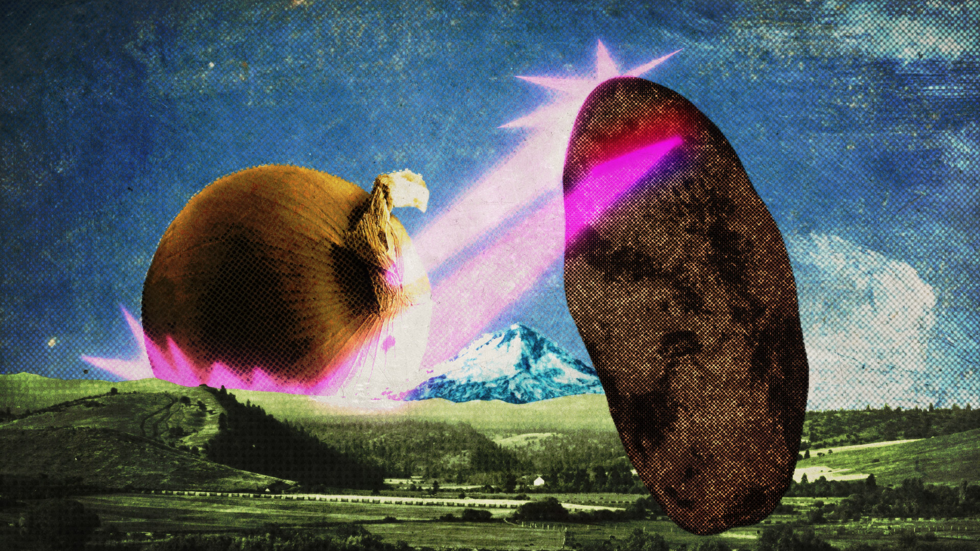A giant potato battles a giant onion above an Oregon landscape featuring Mount Hood. Both are shooting lasers at each other.