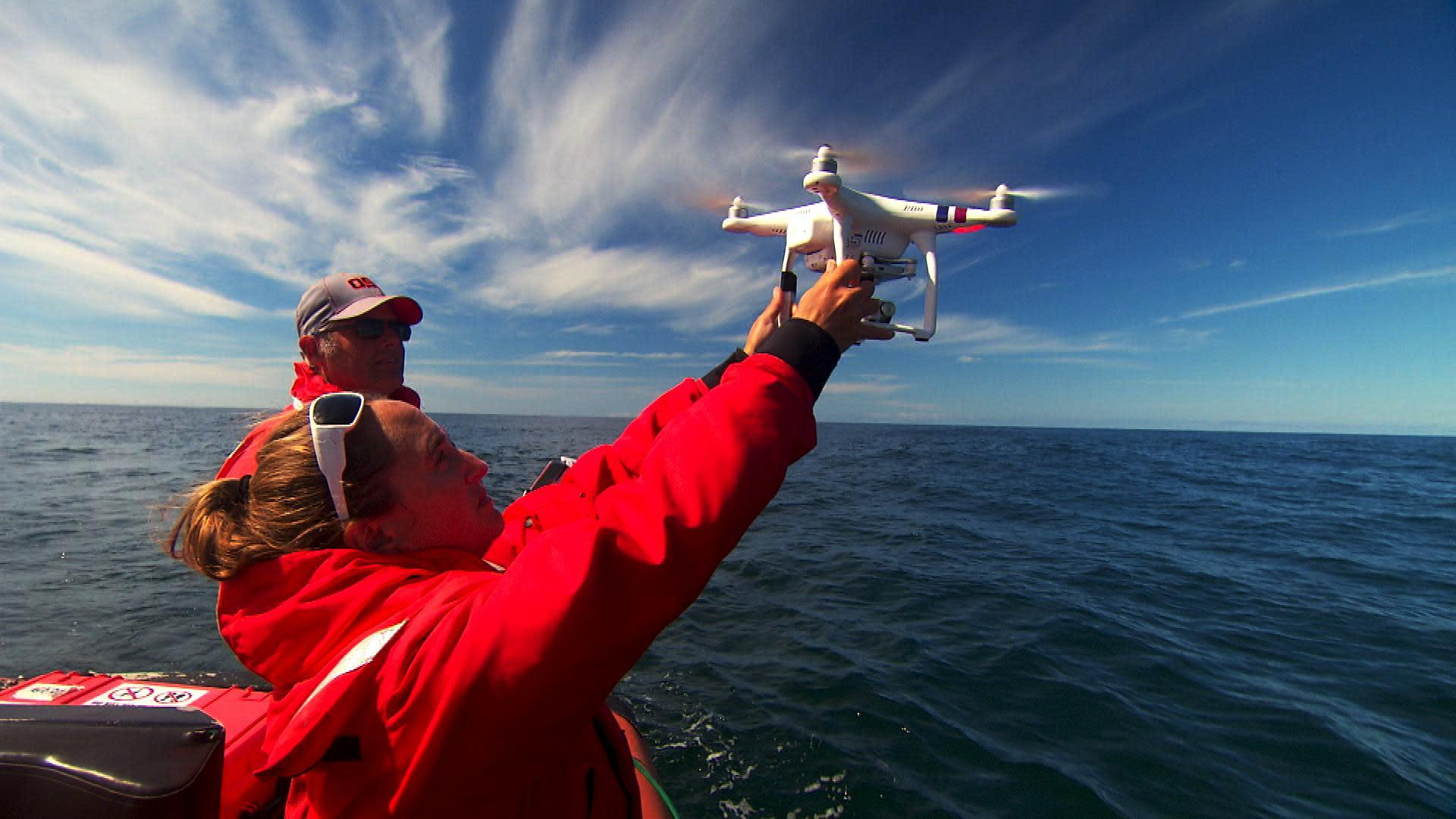 Oregon State University researcher Leigh Torres launches a drone off the Oregon coast to study how whales respond to noise pollution from vessel traffic. The project has funding from the National Marine Fisheries Service Office of Science and Technology Ocean Acoustics Program.