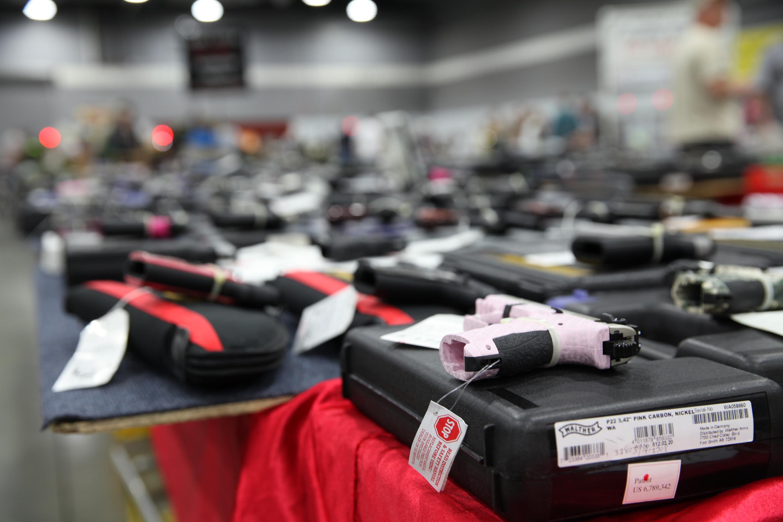 Guns for sale at a Portland gun show.