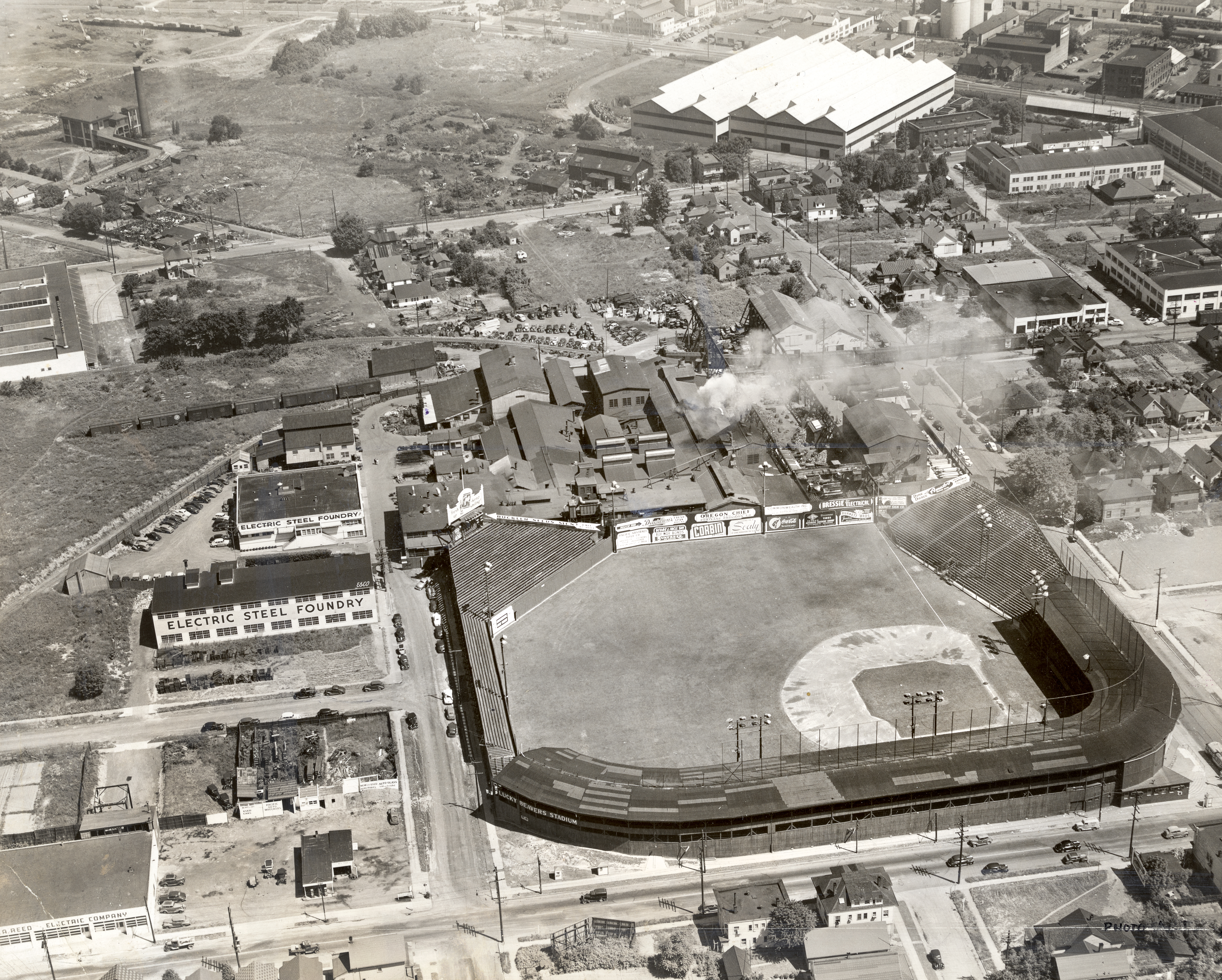Aerial view of the Vaughn Street Park at NW 24th & Vaughn St. near the Electric Steel Foundry, Sept. 23, 1945.