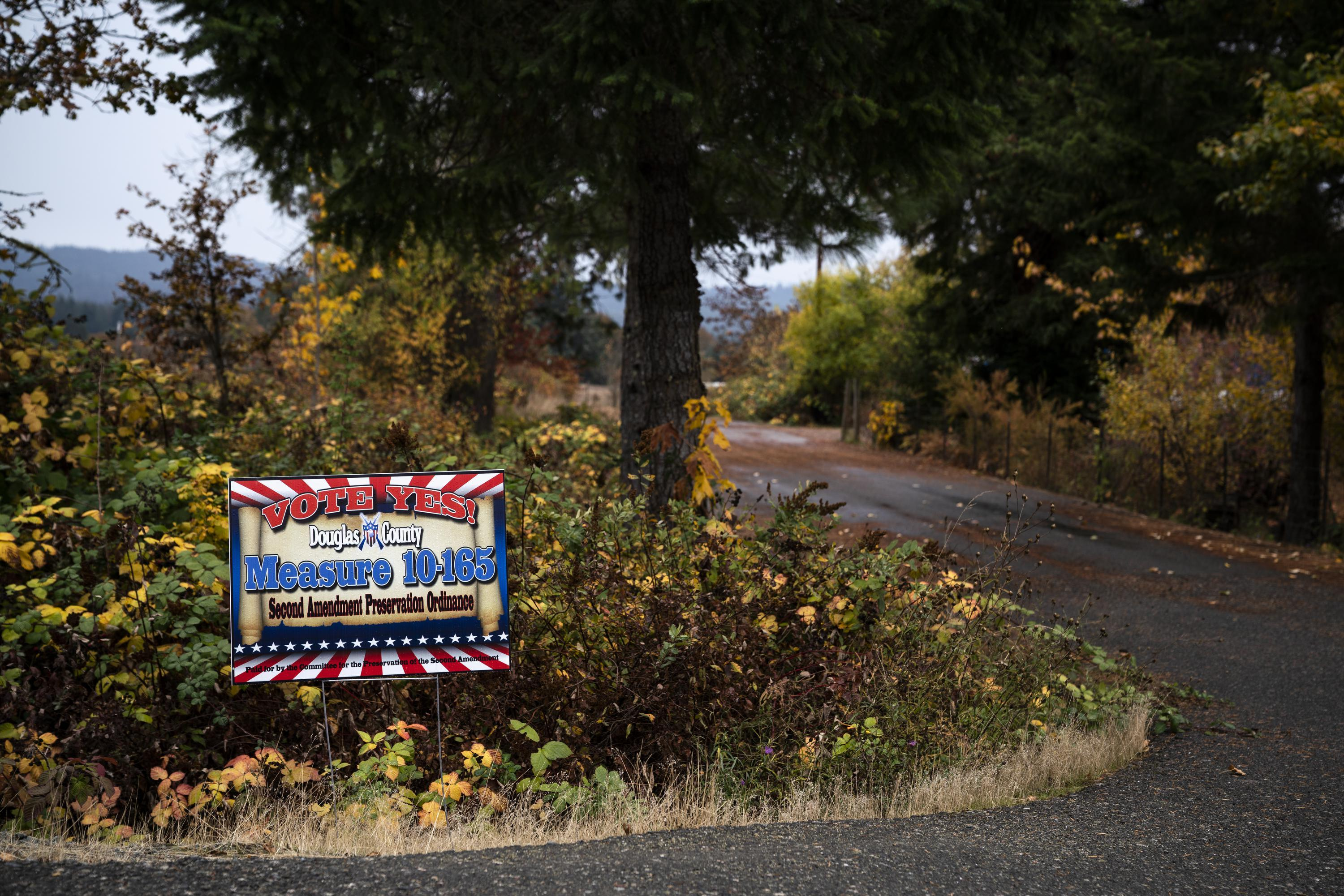 CAMAS VALLEY, OR - OCTOBER 23: Tom McKirgan stands in front of his house with a campaign sign supporting the Douglas County Second Amendment Preservation Ordinance on October 23, 2018 in Camas Valley, Oregon. McKirgan is a member of the Three Percenter militia and helped write the Douglas County ordinance. (Credit: Jonathan Levinson, OPB)