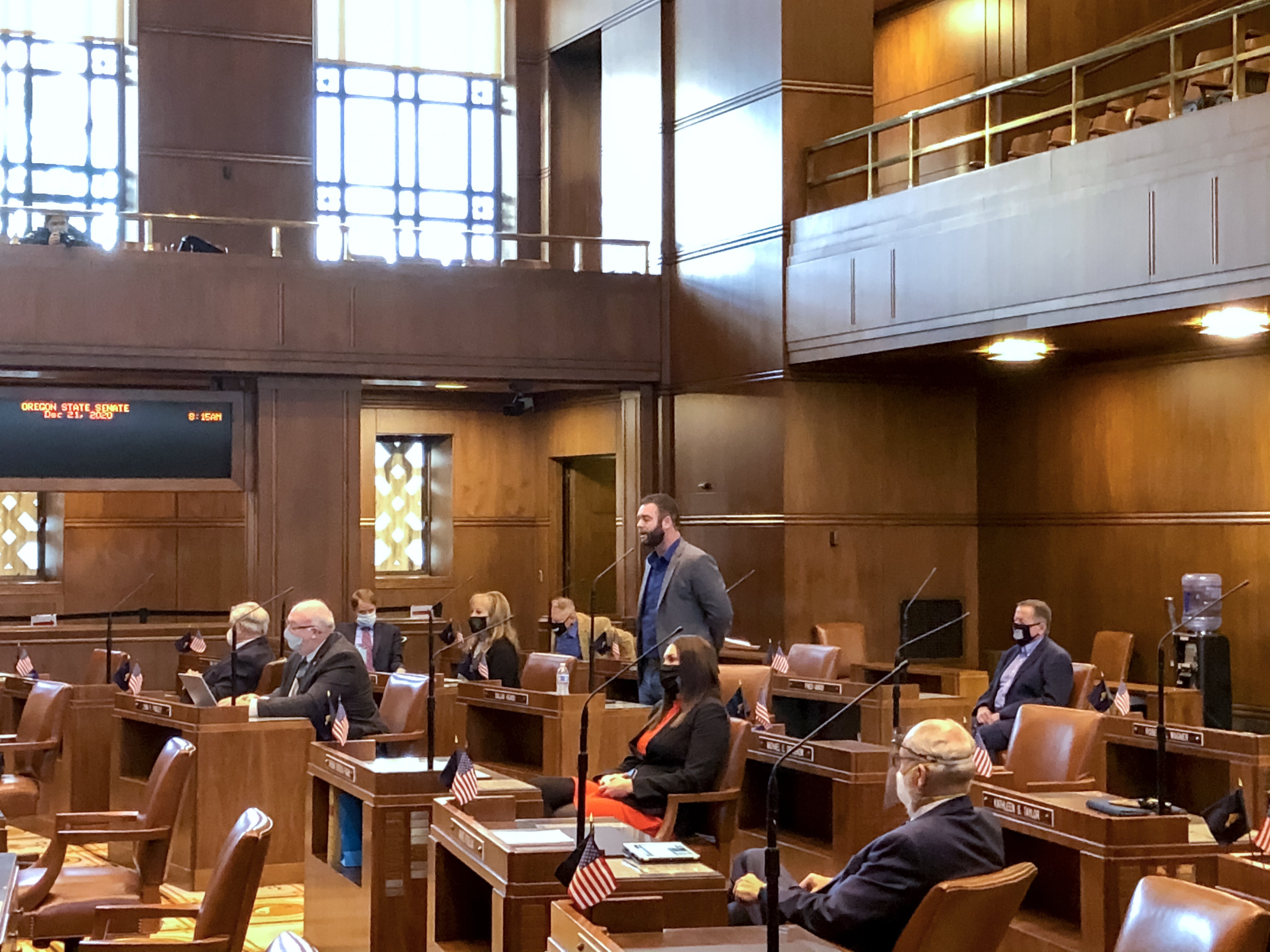 Legislators on the floor at the State Capitol Monday during a special session on Dec. 21, 2020.