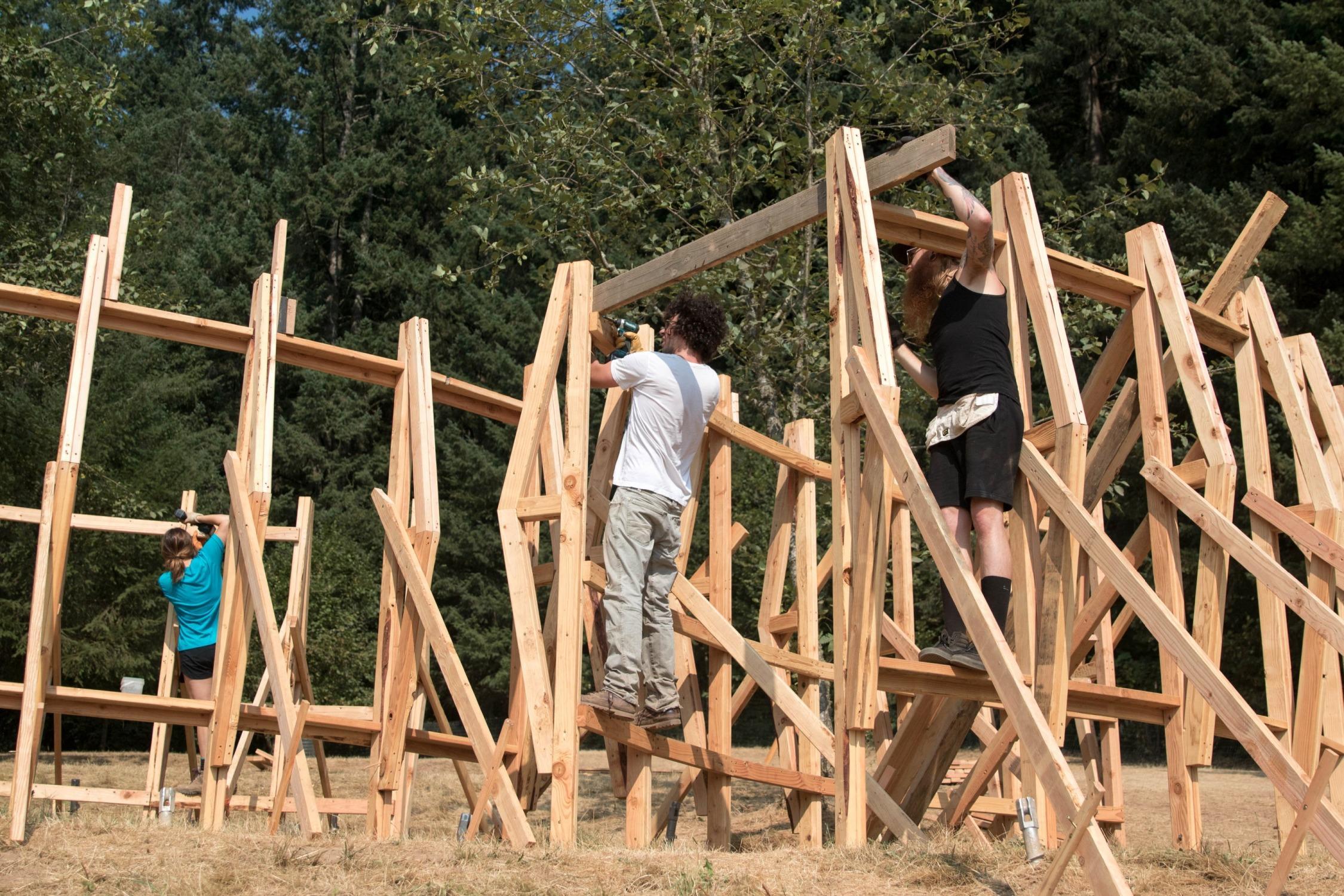 PSU architecture students break the Treeline Stage down.
