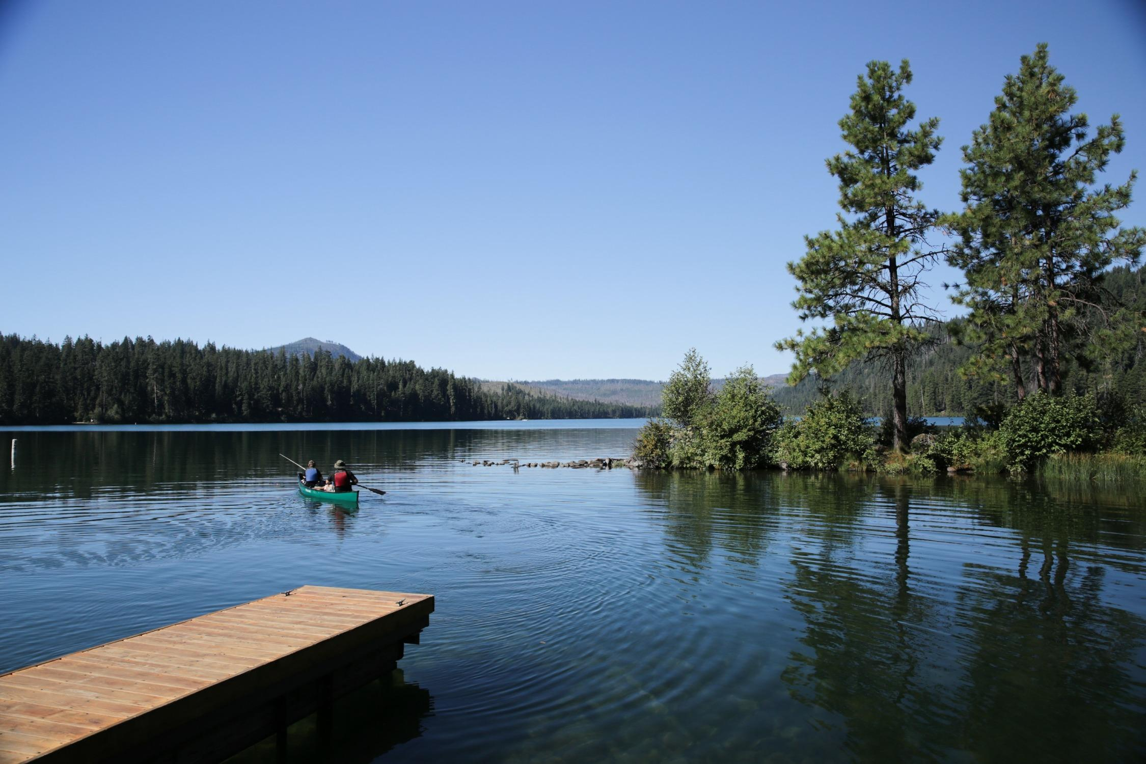 Portland father and his sons fishing for Kokanee in Suttle Lake in Sisters, Oregon.