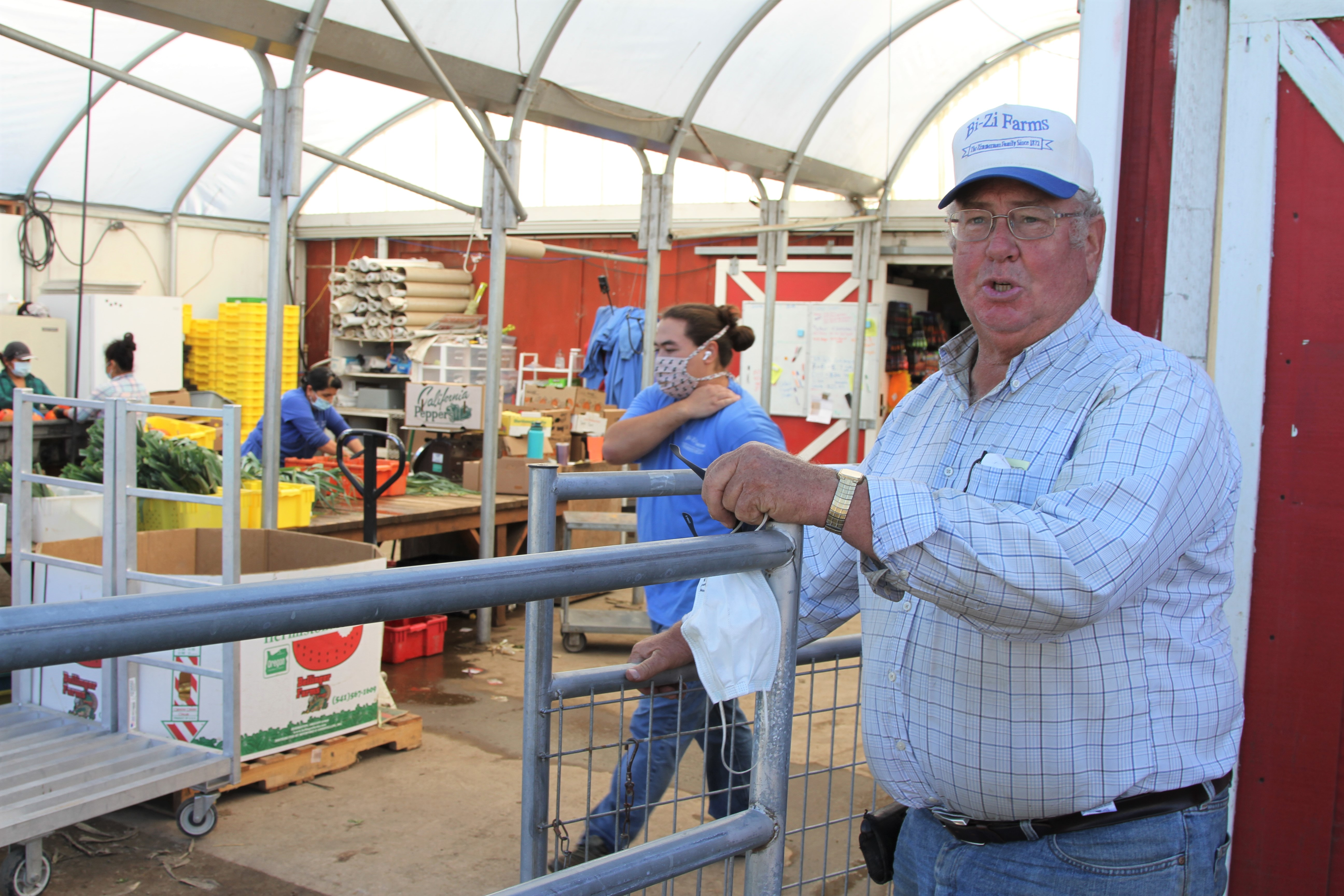 Pumpkin patch owner Bill Zimmerman expects half the visitors he had last year. But his roadside farm market seems to be picking up the slack, because everyone's at home and wants to buy fresh produce.