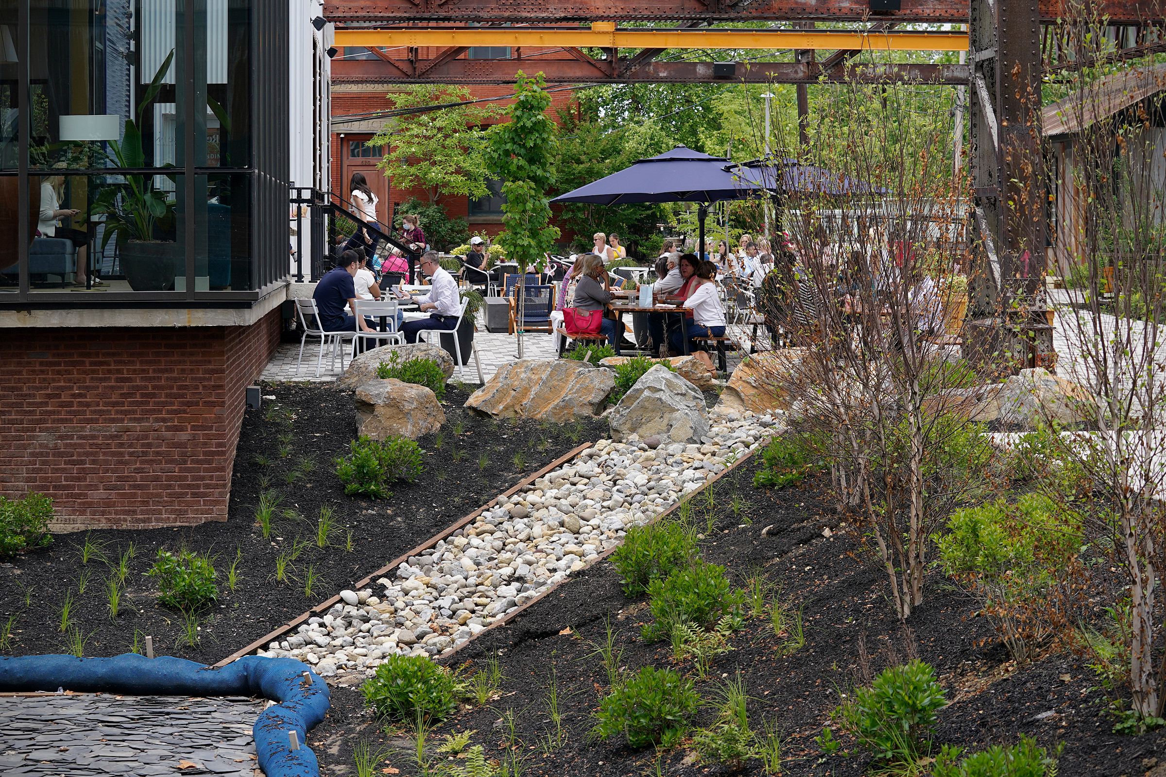 A rain garden is pictured at the Ironworks at Pencoyd Landing in Bala Cynwyd, Pa., on Wednesday, June 2, 2021. The new development, which opened earlier this year with a restaurant and hotel, is located on the site of the former Pencoyd Iron Works along the Schuylkill.